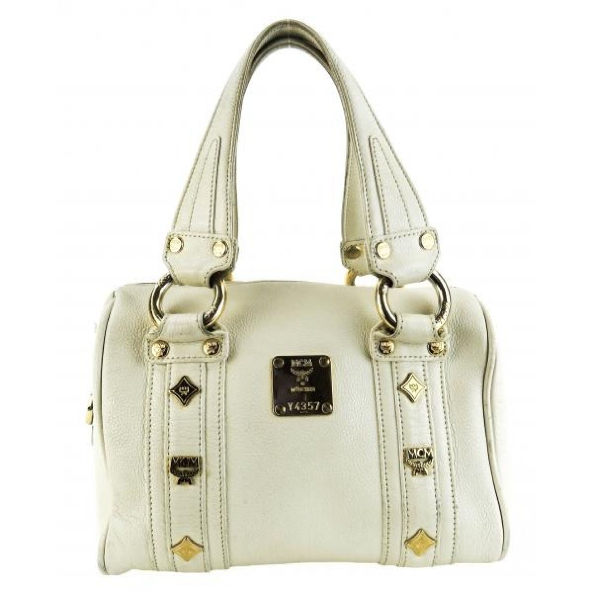 MCM Ivory Leather Small Femme Boston Satchel Bag