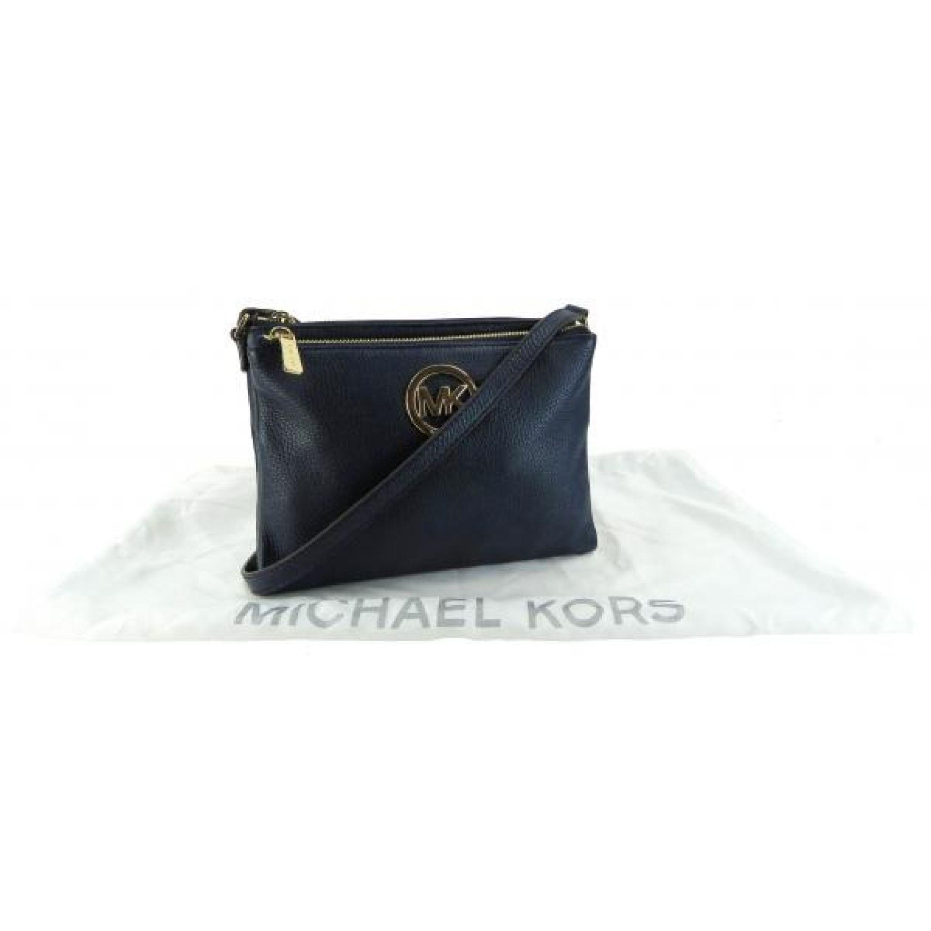 Michael Kors Navy Blue Pebbled Leather Adele Double Zip Crossbody Bag