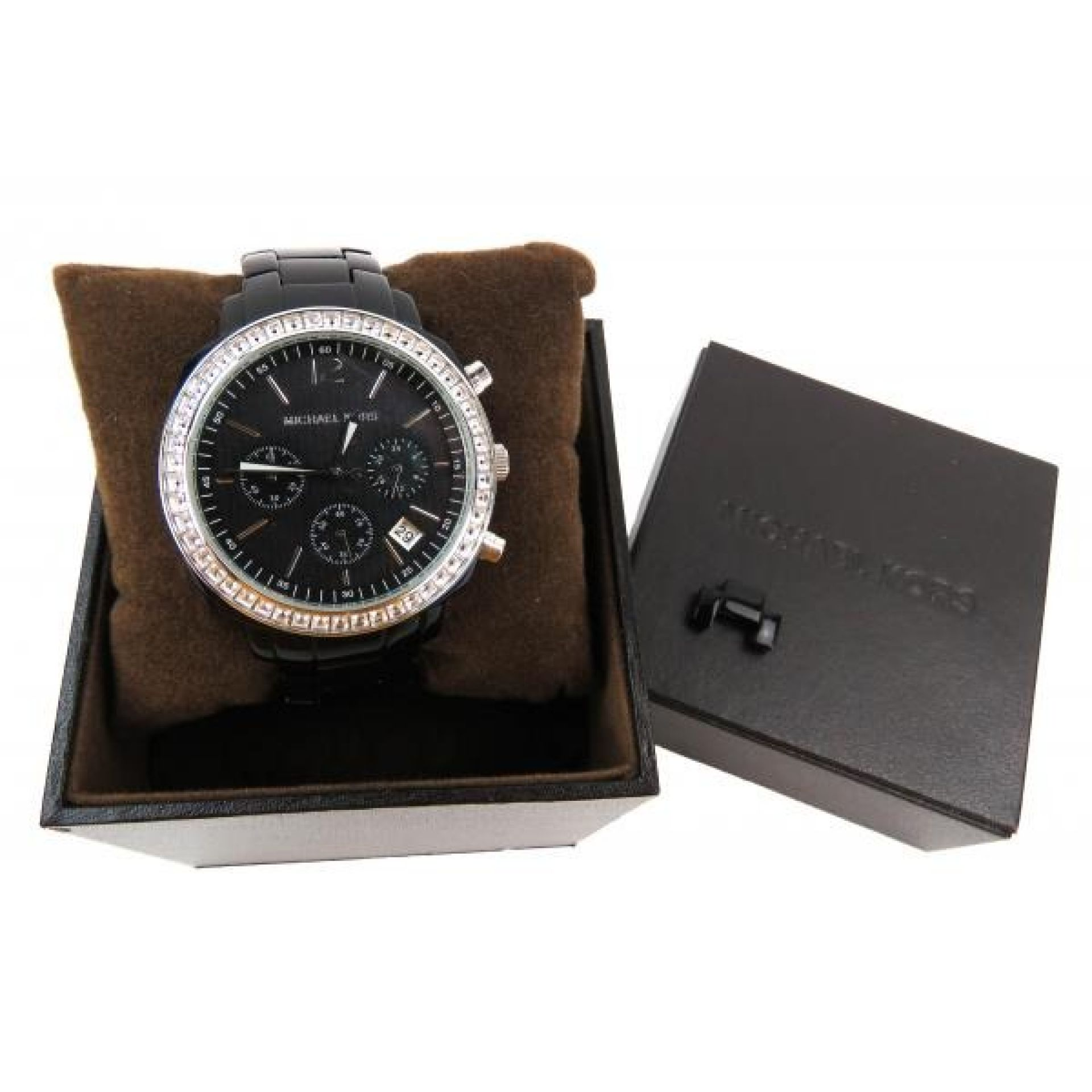 MICHAEL Michael Kors Black Acrylic Crystal Glitz Chronograph Watch