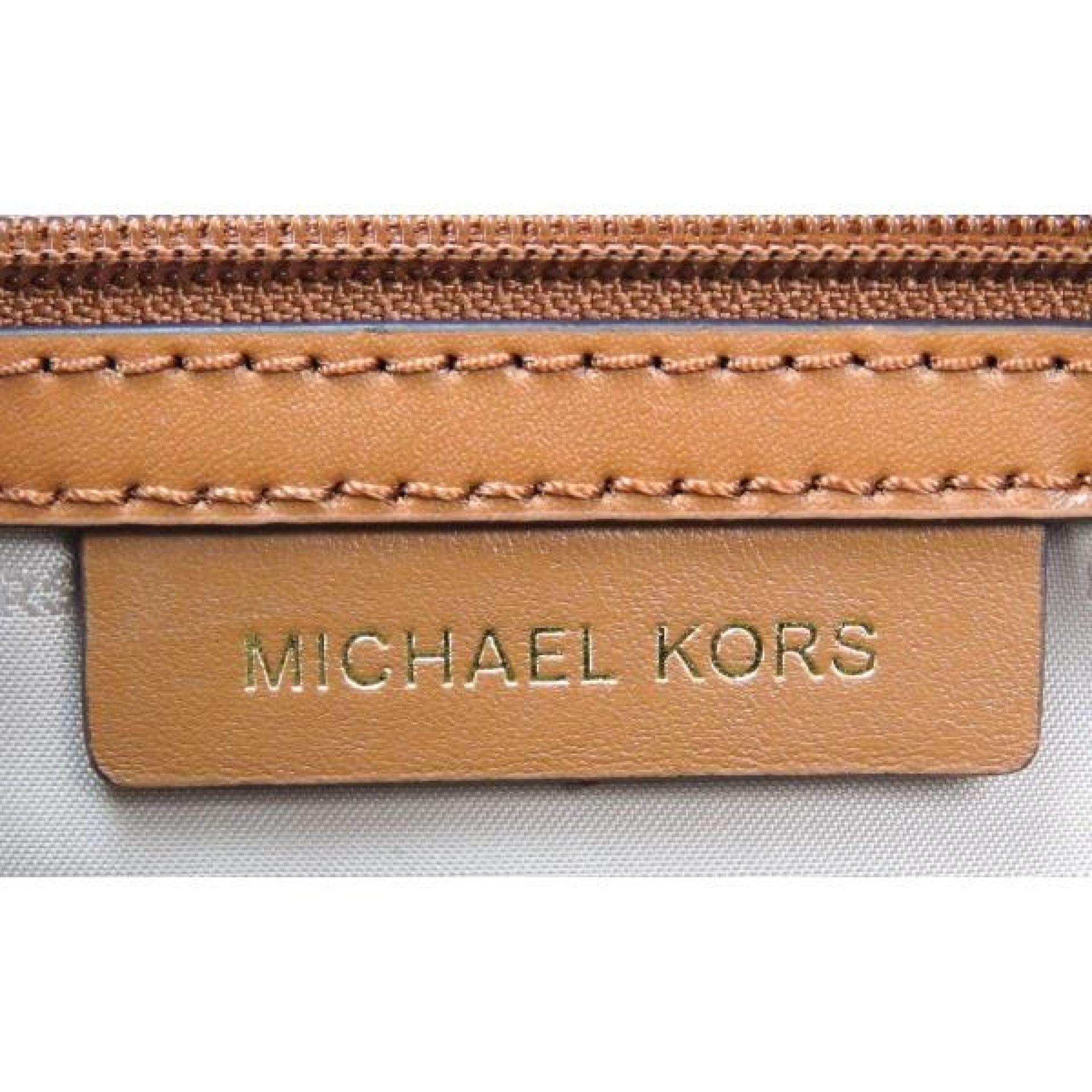 Michael Kors Brown Monogram Canvas Grayson Mercer Convertible Satchel Bag