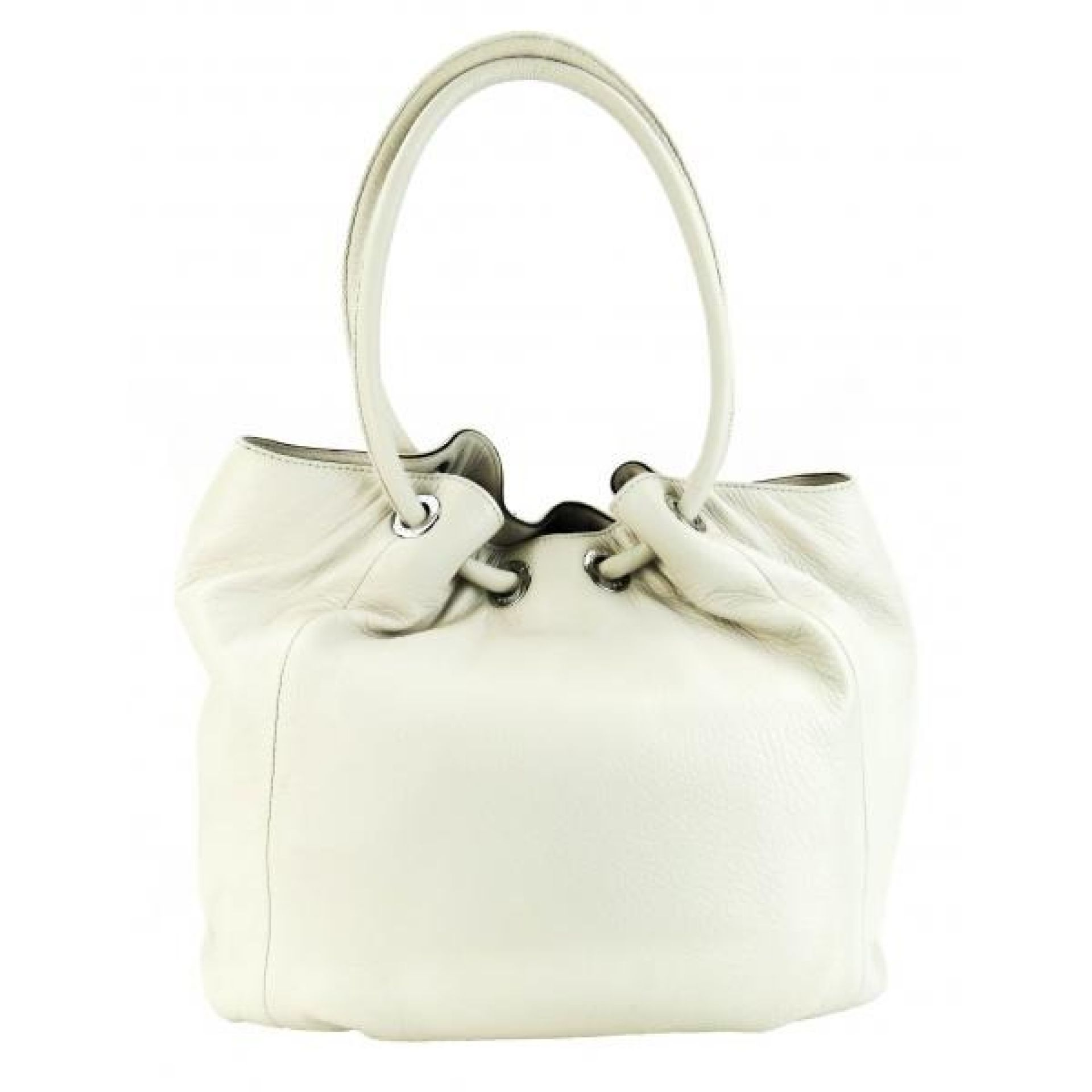 MICHAEL Michael Kors Ivory Leather Medium East West Ring Tote Bag