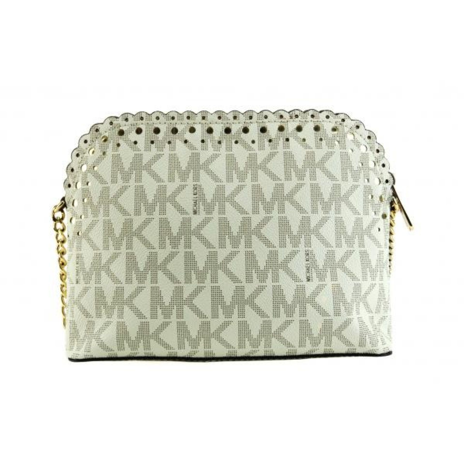MICHAEL Michael Kors Ivory Signature Coated Canvas Cindy Scalloped Crossbody Bag