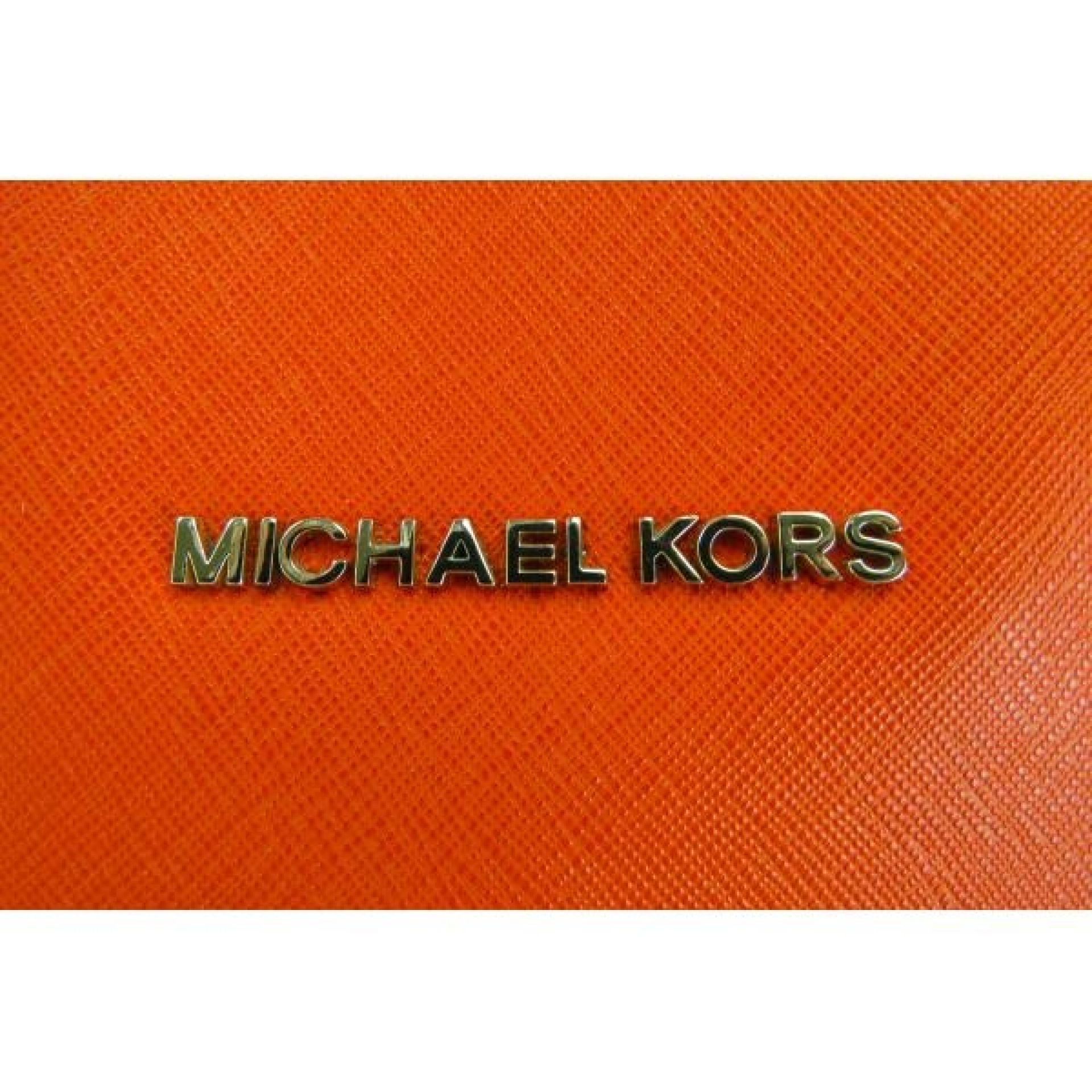 MICHAEL Michael Kors Orange Saffiano Leather Jet Set East West Tote Bag