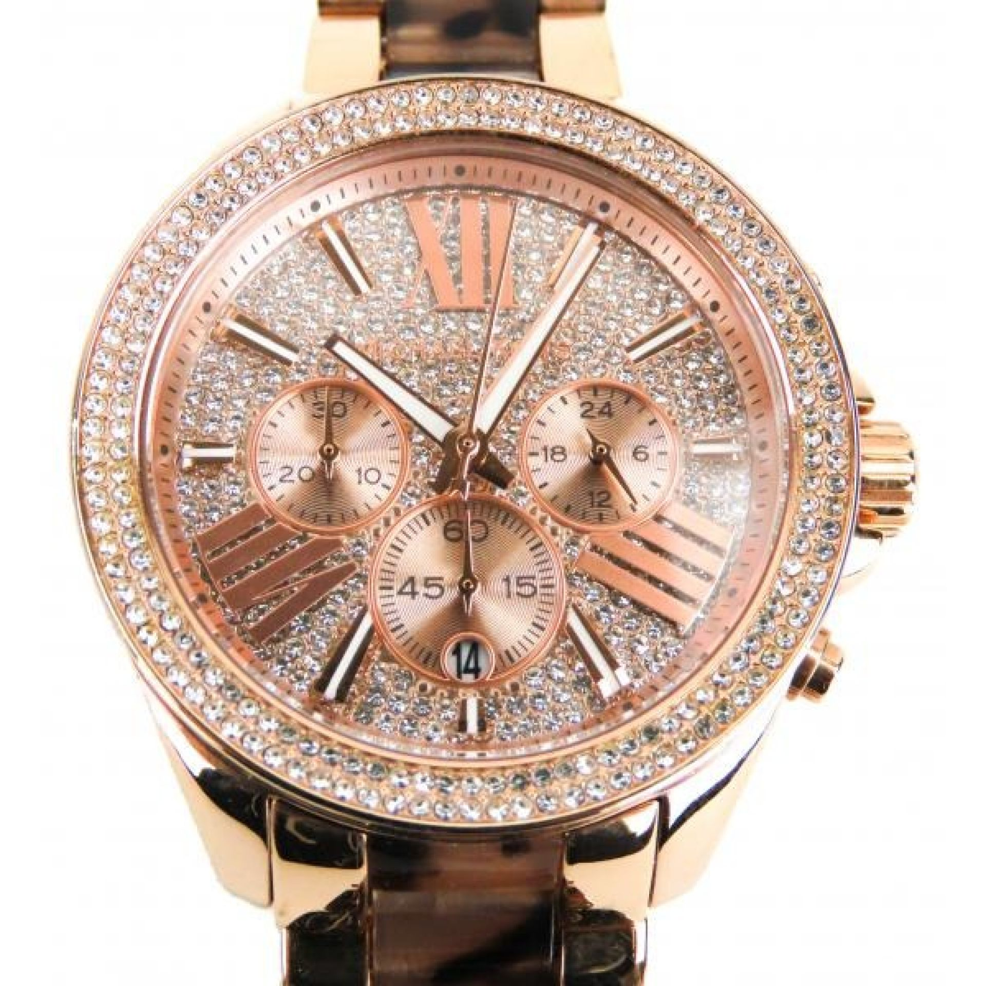 MICHAEL Michael Kors Rose Gold-tone Tortoise Crystal Wren Two-Tone 20mm Chronogr