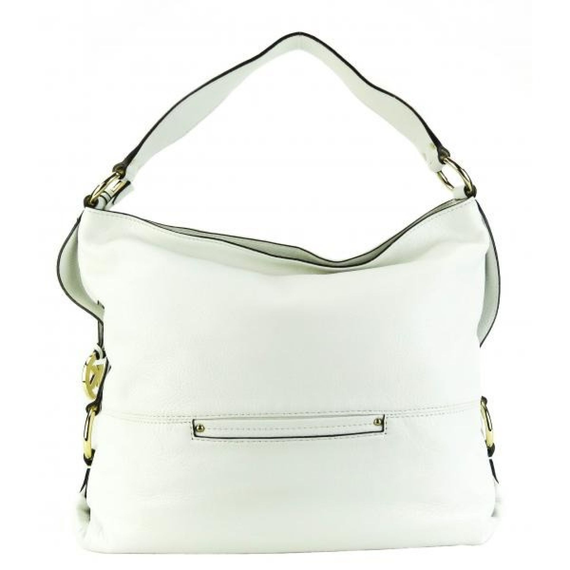 MICHAEL Michael Kors White Pebbled Leather Austin Hobo Bag