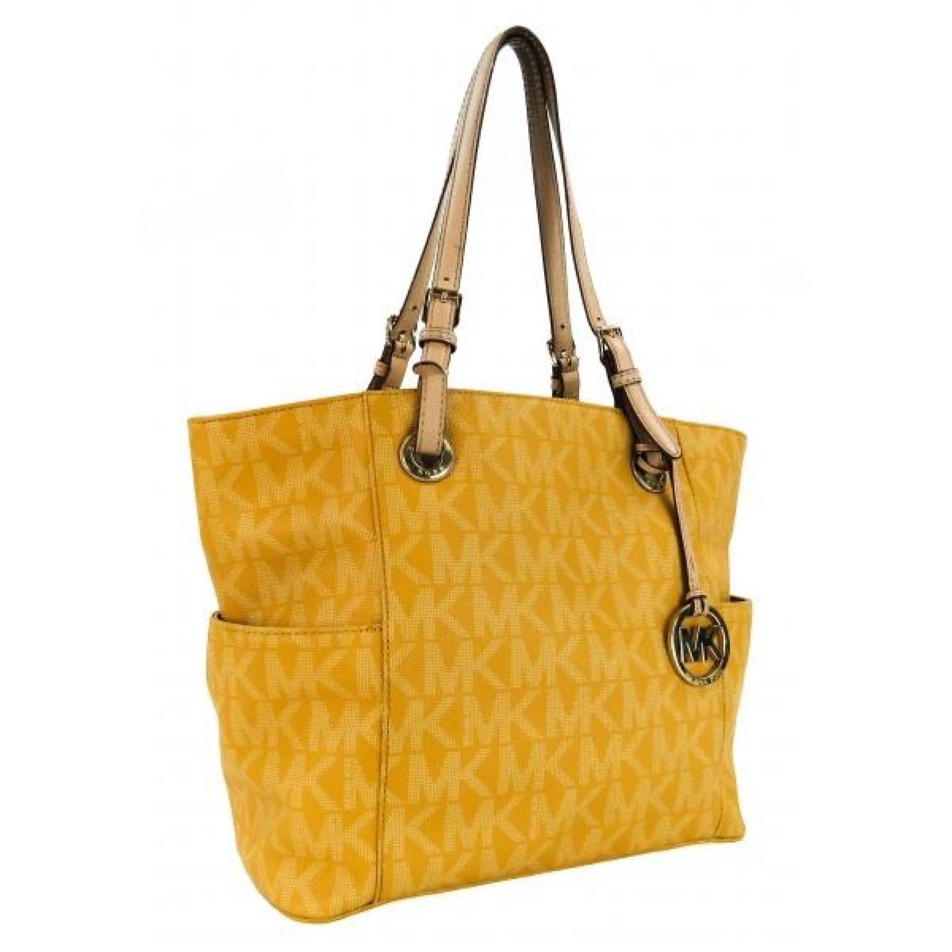 MICHAEL Michael Kors Yellow Monogram Coated Canvas Jet Set Side Pocket Tote Bag