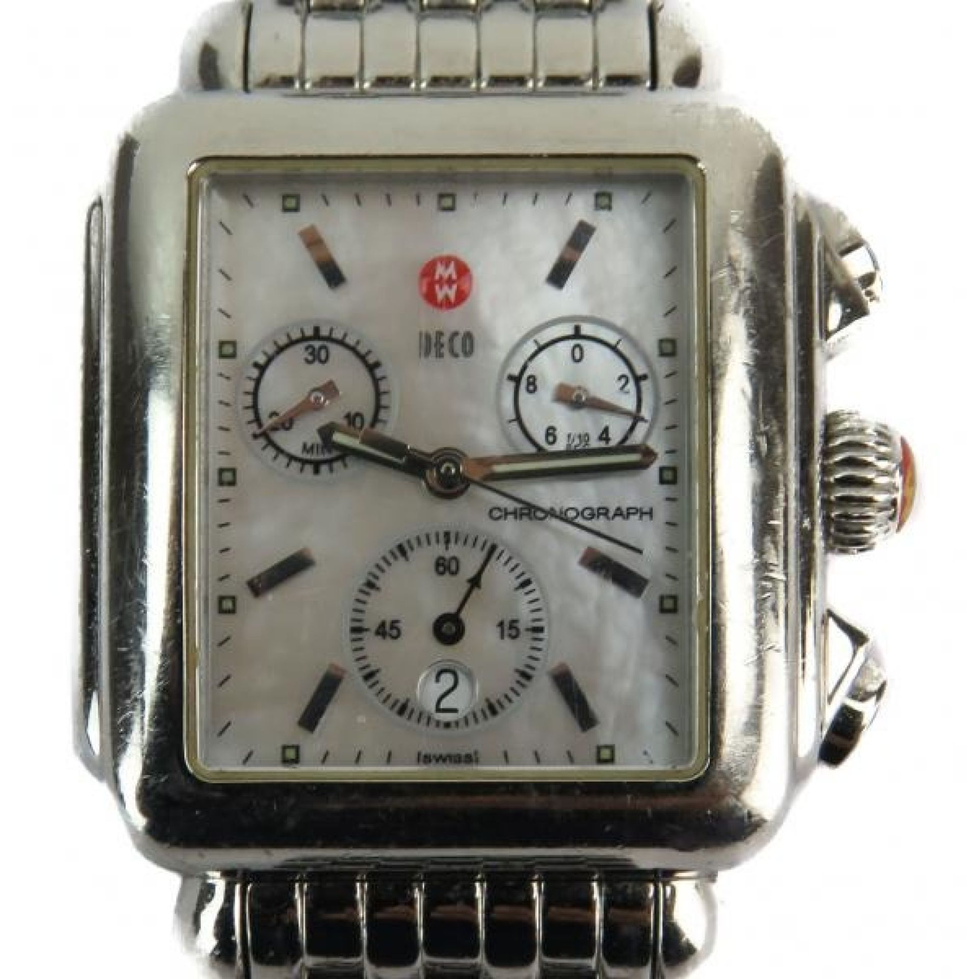 Michele Stainless Steel Signature Deco Chronograph Watch