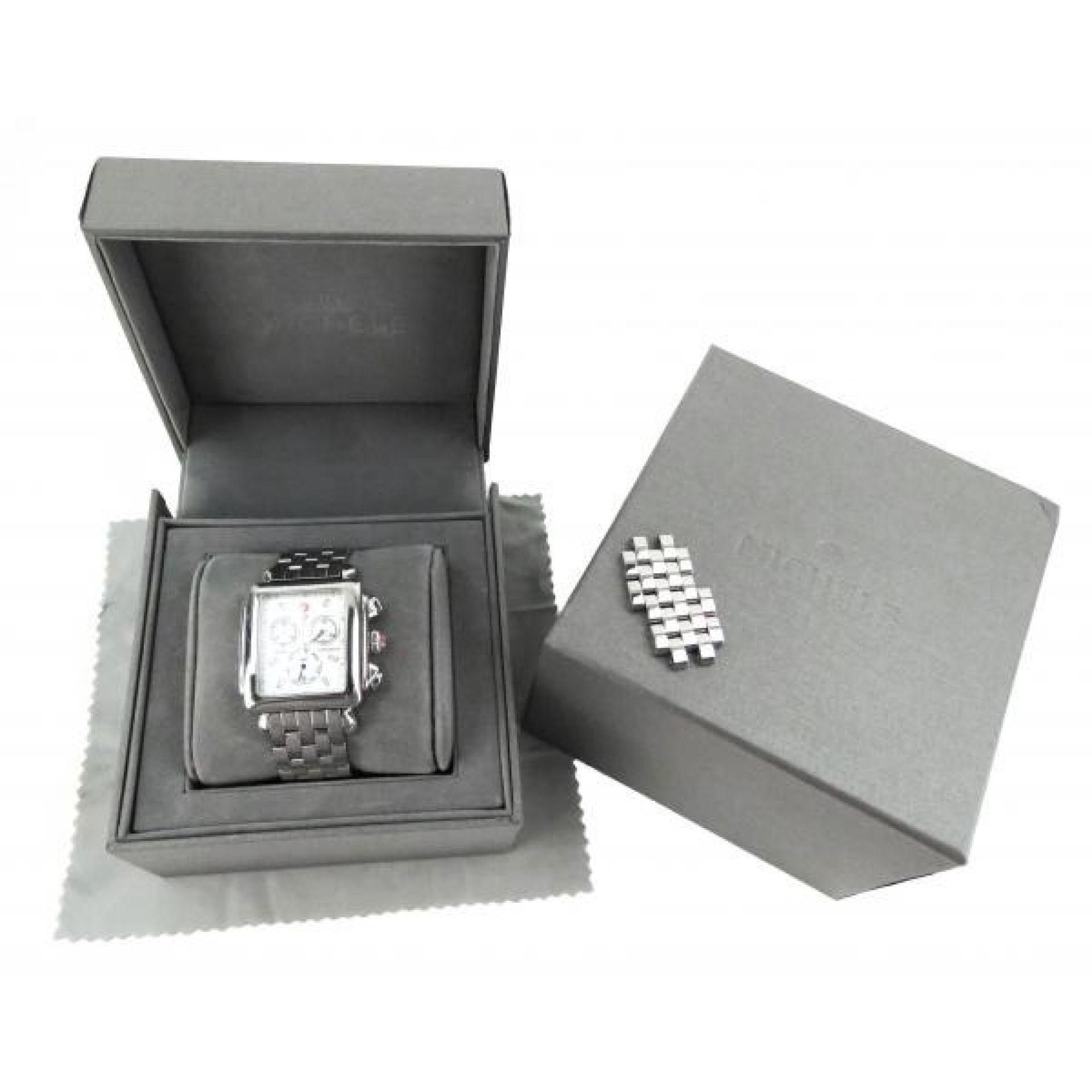 Michele Stainless Steel Signature Deco Diamond 20mm Chronograph Watch