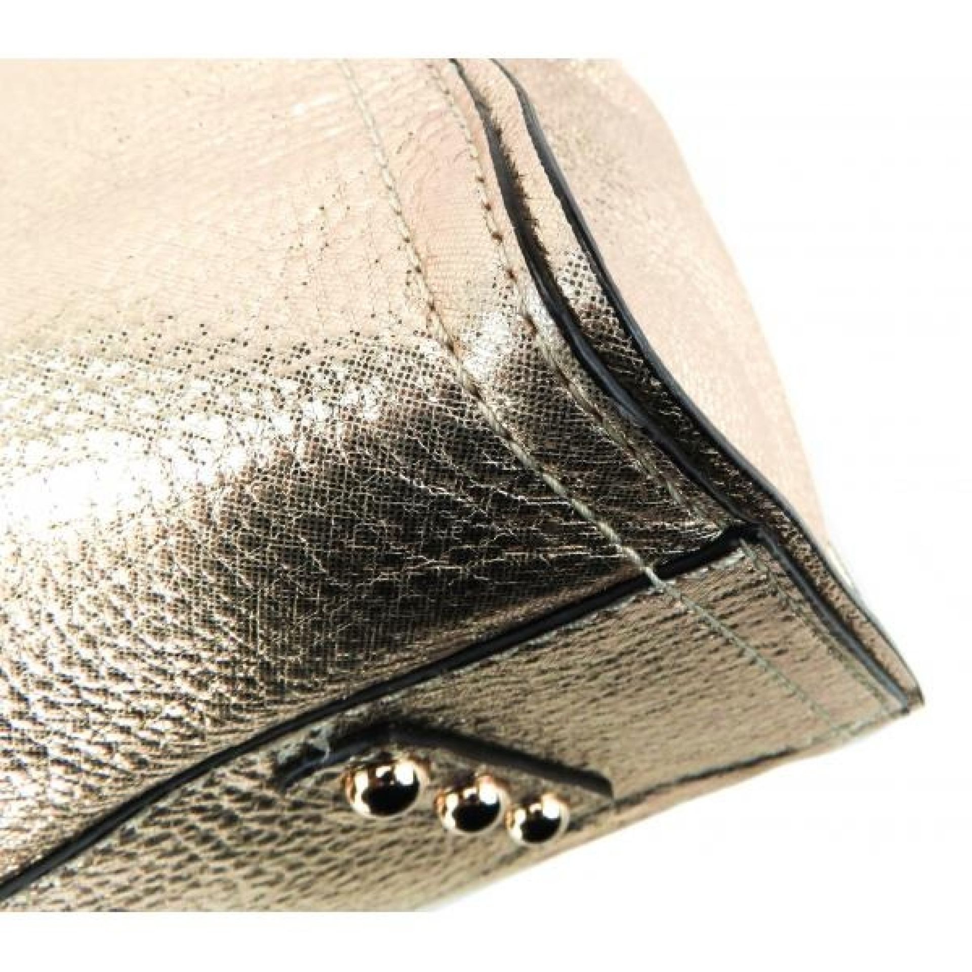Milly Gold Metallic Leather Satchel Bag