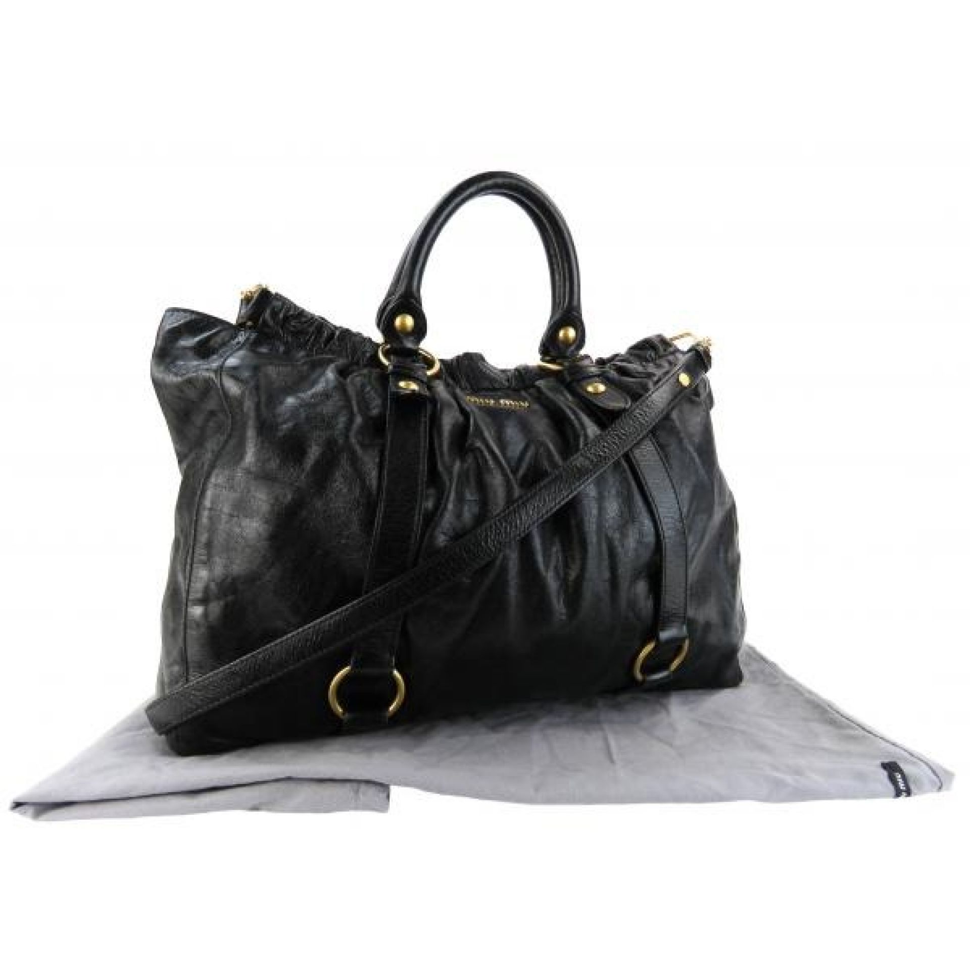 Miu Miu Black Leather Vitello Lux Satchel Bag