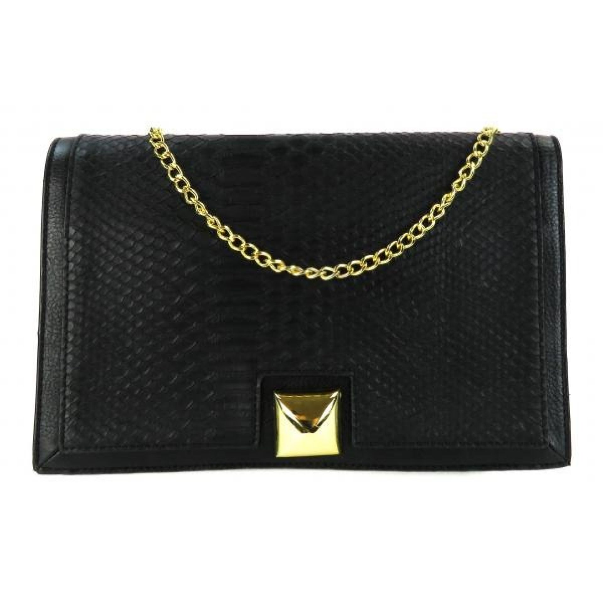 Neiman Marcus Black Snake Embossed Faux Leather Flap Shoulder Bag
