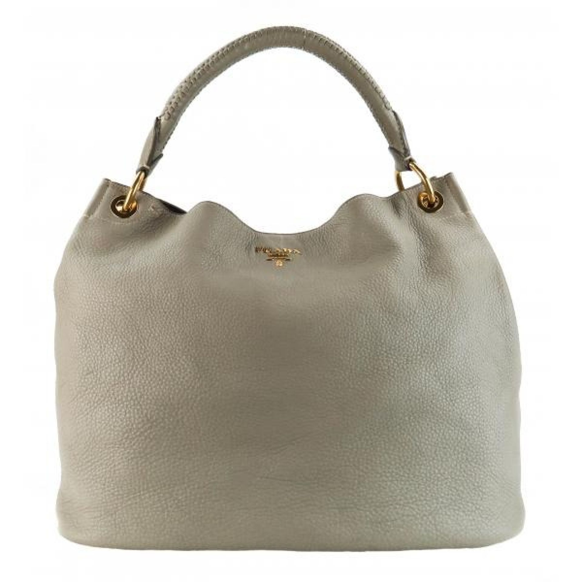 Prada Beige Pebbled Leather Vitello Daino Hobo Bag