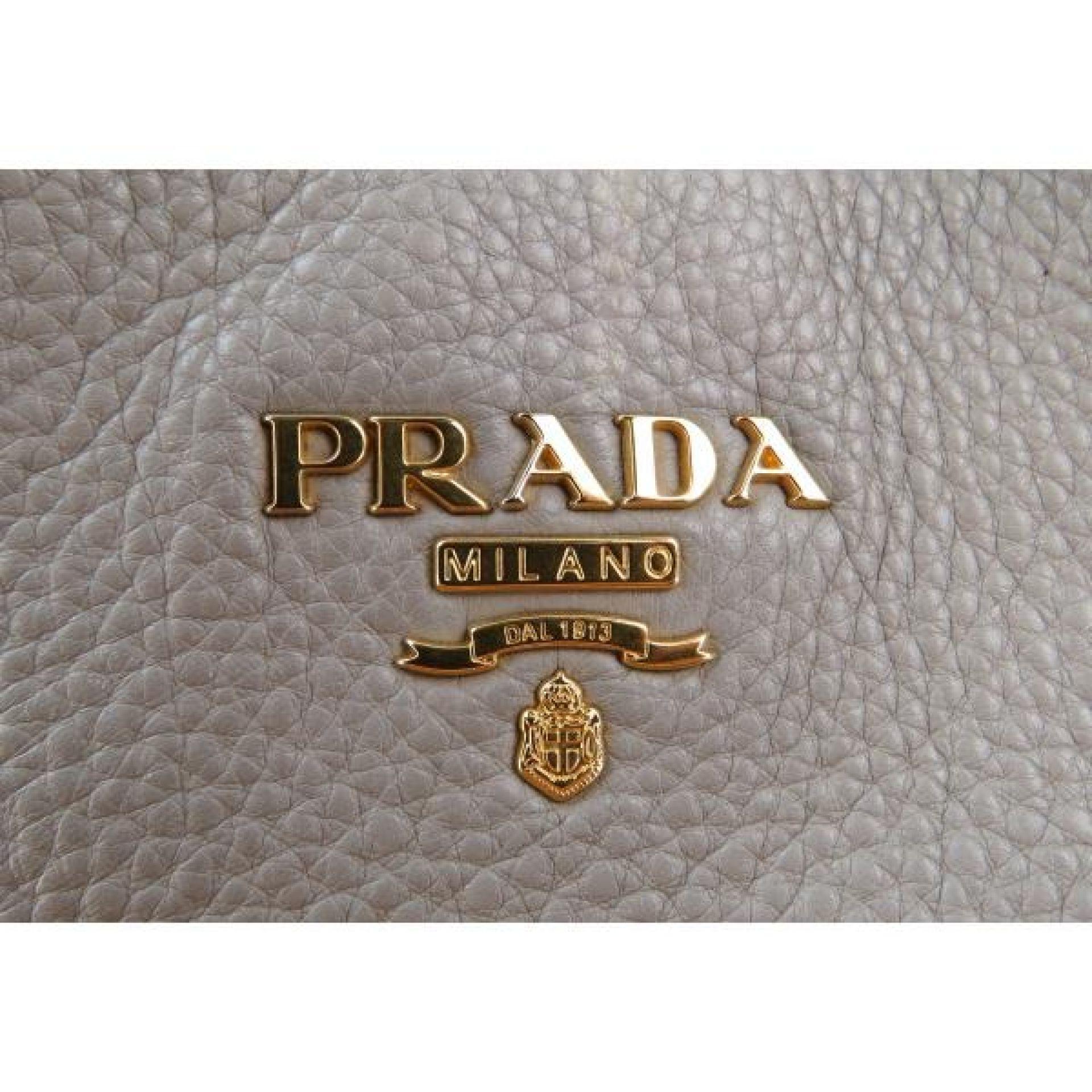 Prada Beige Pebbled Leather Vitello Daino Hobo Bag