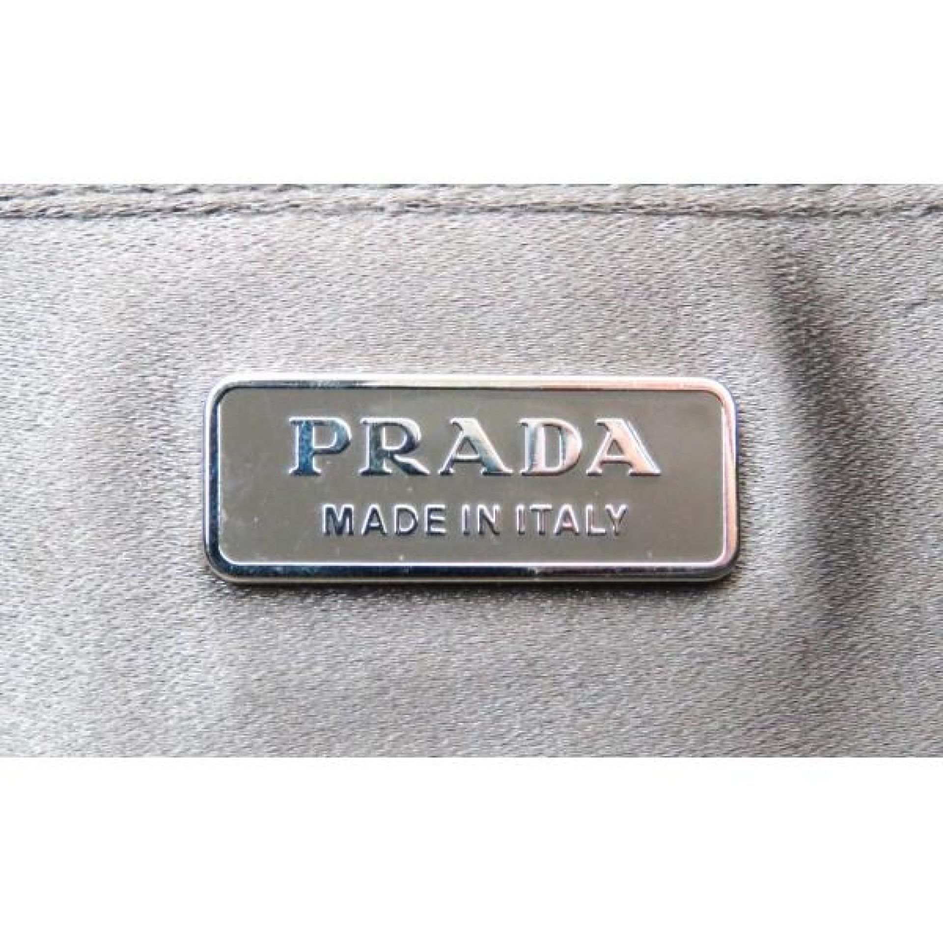 Prada Grey Satin Rosa Waves Clutch Bag