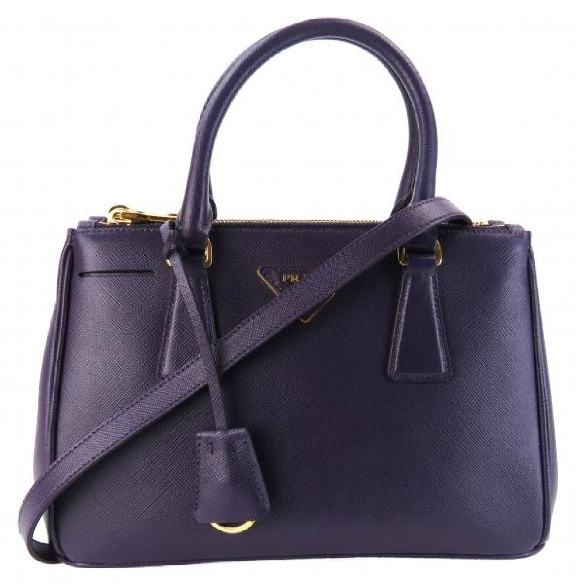 Prada Purple Saffiano Leather Small Double Zip Executive Tote Bag with Shoulder