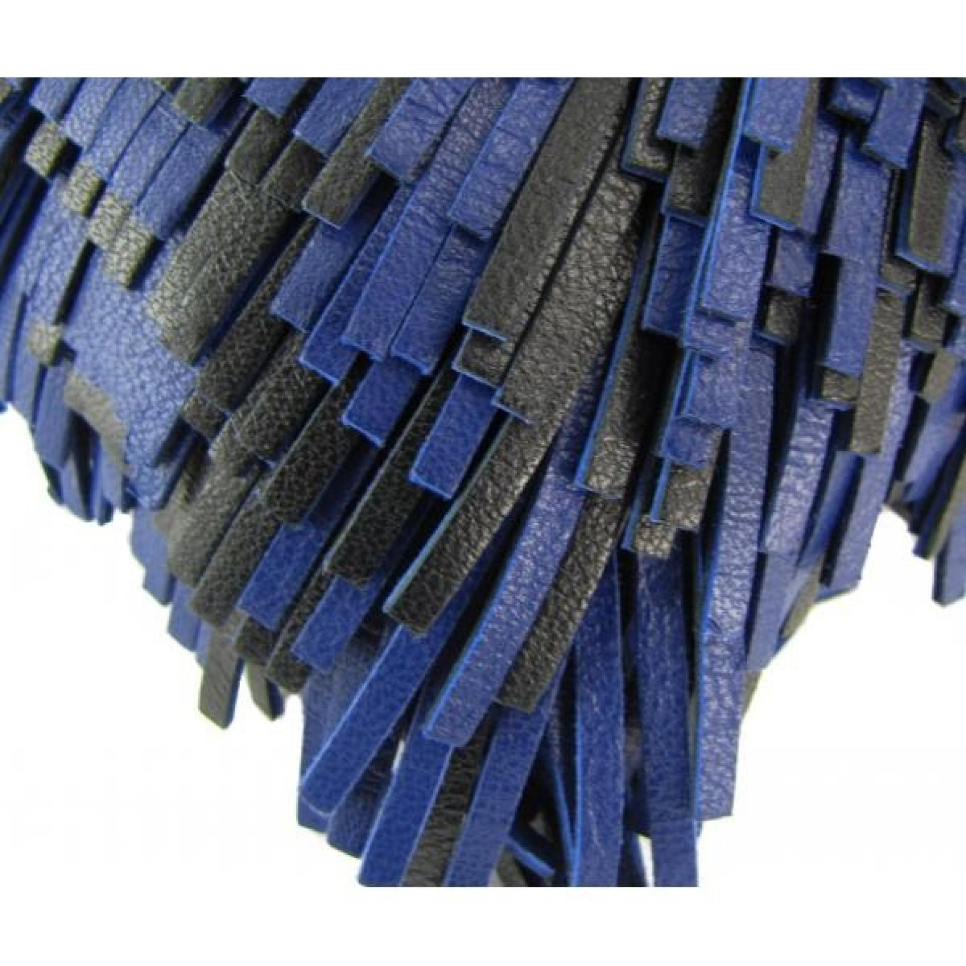 Proenza Schouler Blue and Black Leather Fringe Chain Clutch Bag