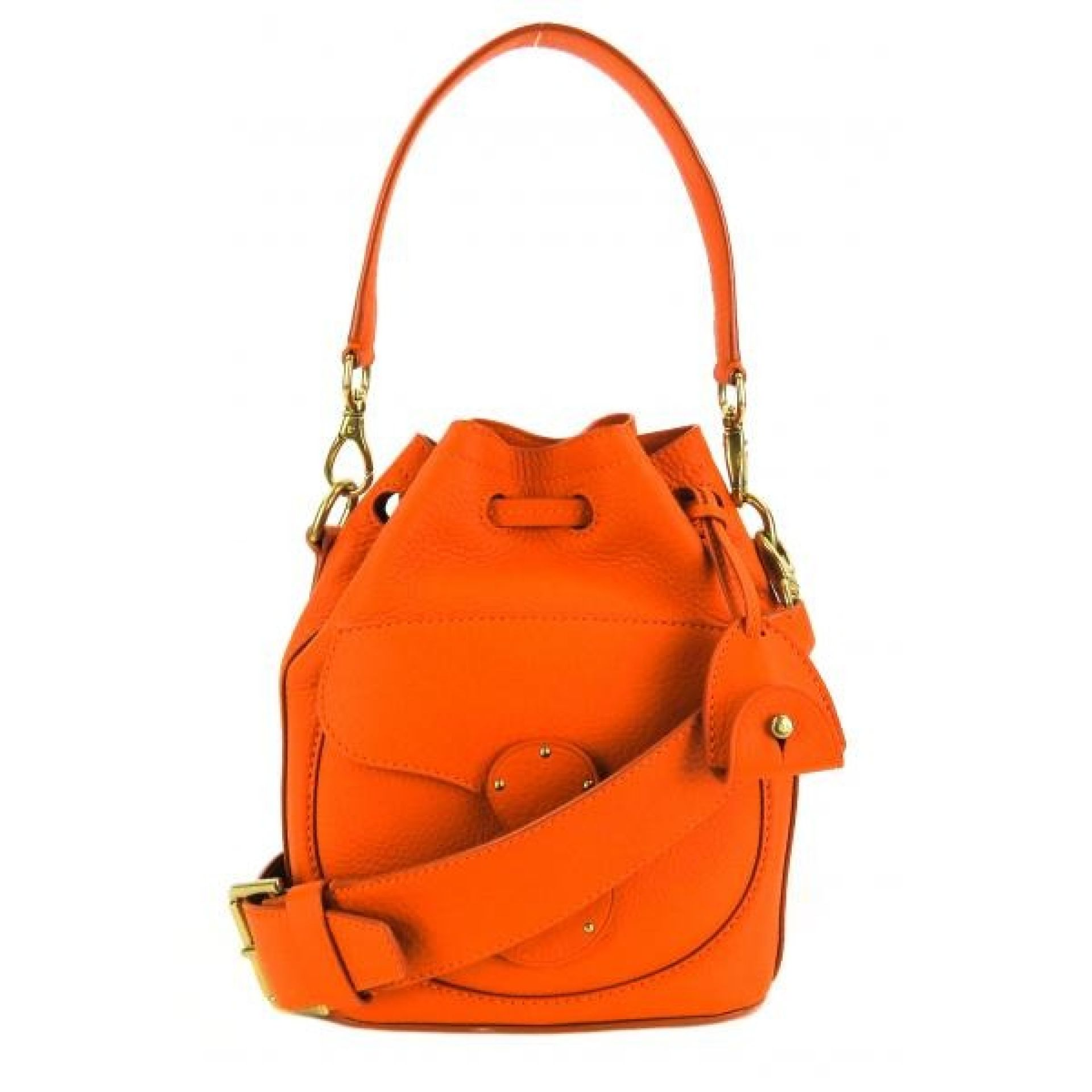 Ralph Lauren Orange Leather Small Ricky Drawstring Bucket Crossbody Bag