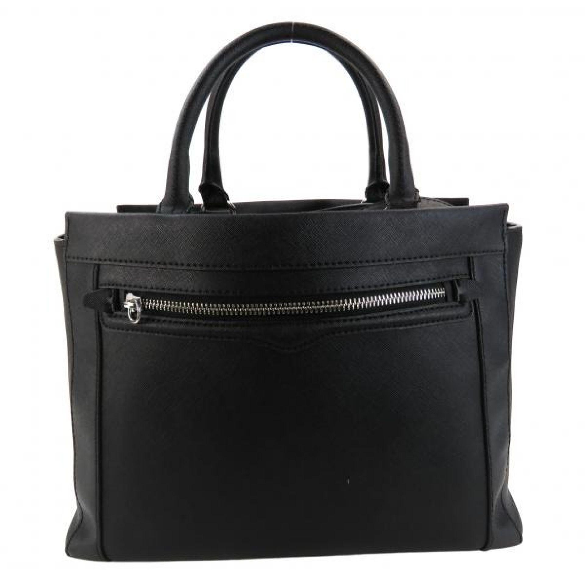 Rebecca Minkoff Black Saffiano Leather Bonnie Convertible Satchel Bag