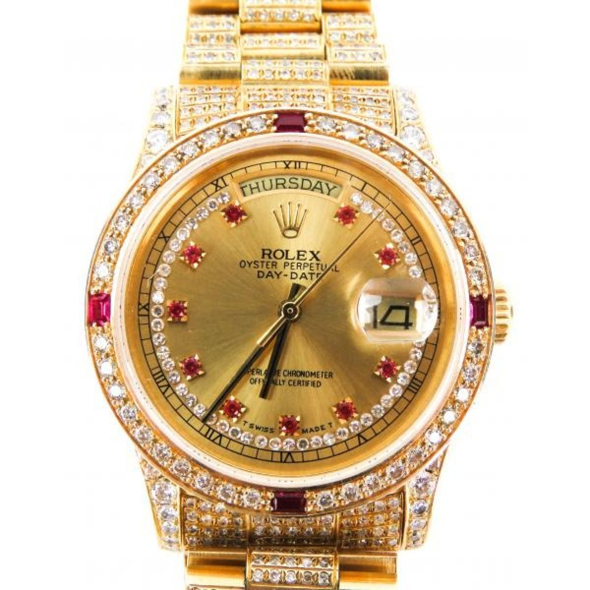 Rolex 18K Gold Diamond and Ruby Dial Oyster Perpetual Presidential Day Date