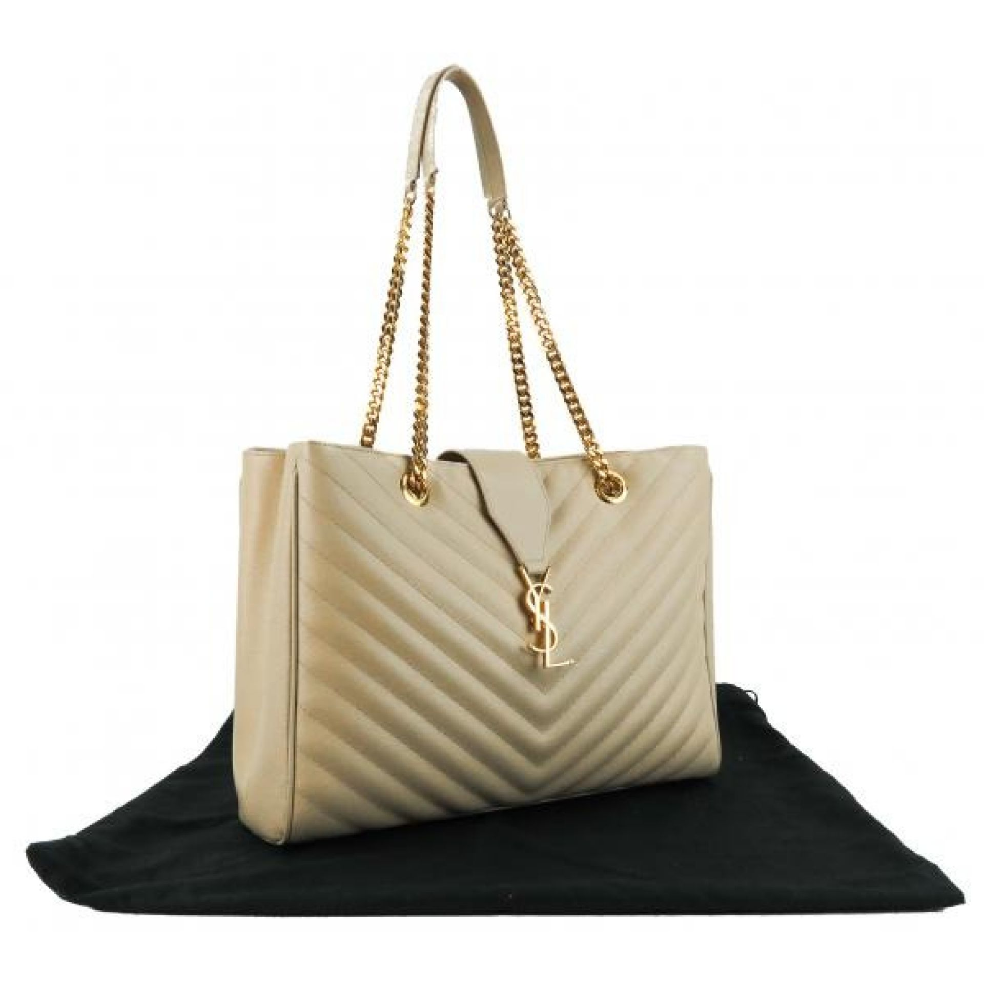 Saint Laurent Beige Mattelasse Leather Chevron Shopping Tote Bag