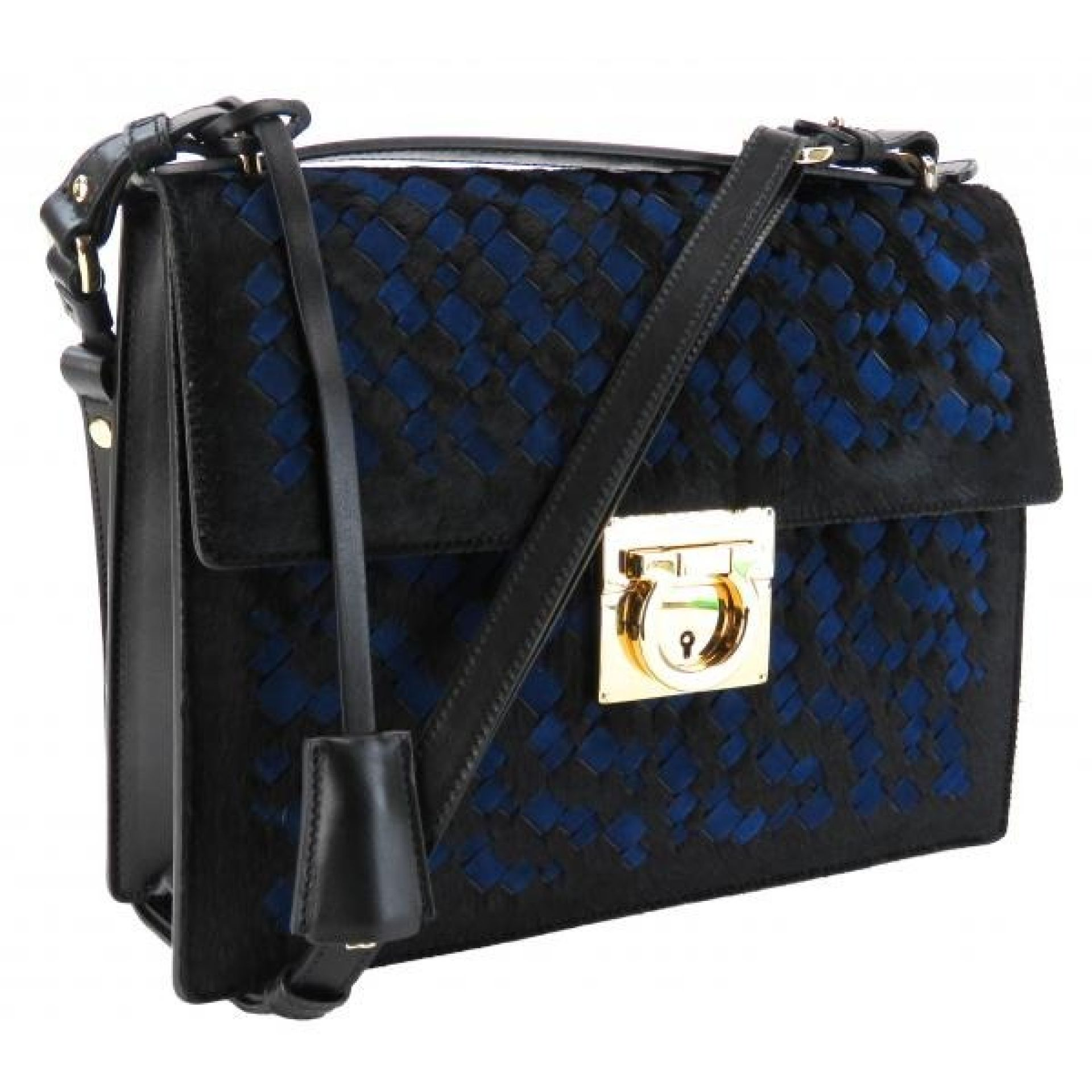 Salvatore Ferragamo Black and Blue Calf Hair Katia Top Handle Shoulder Bag