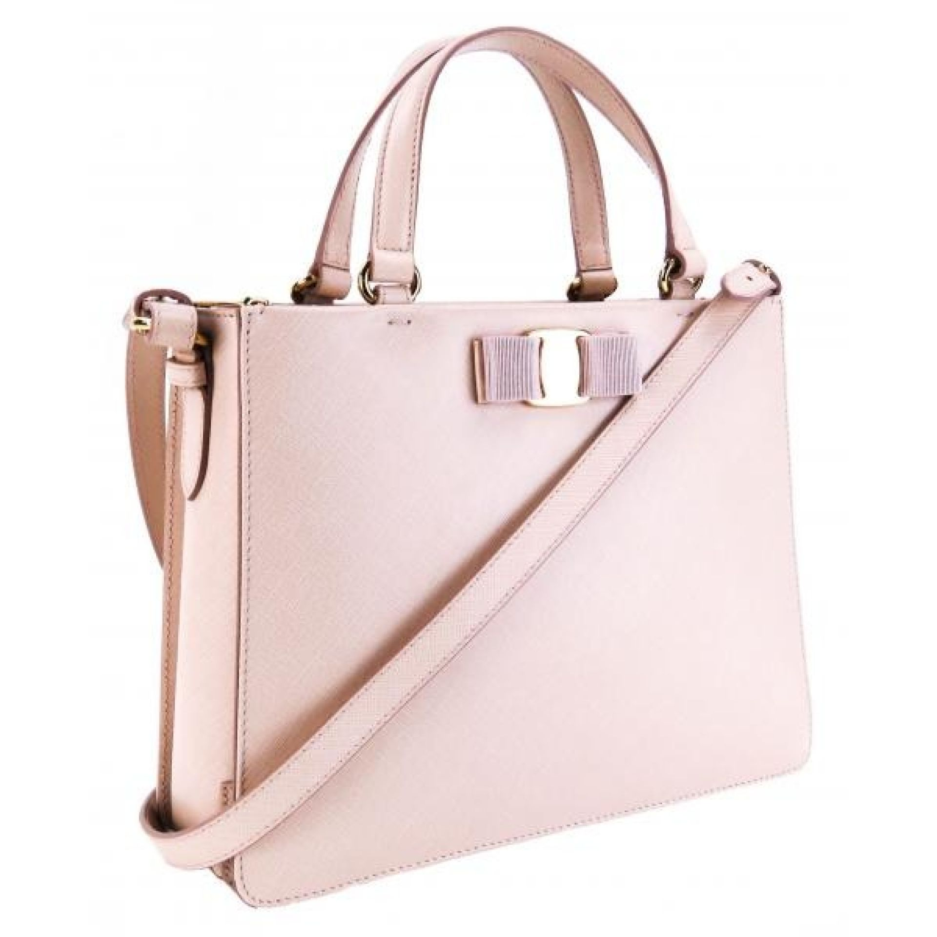 Salvatore Ferragamo Light Pink Saffiano Leather Tracy Classic Vara Bow Satchel B