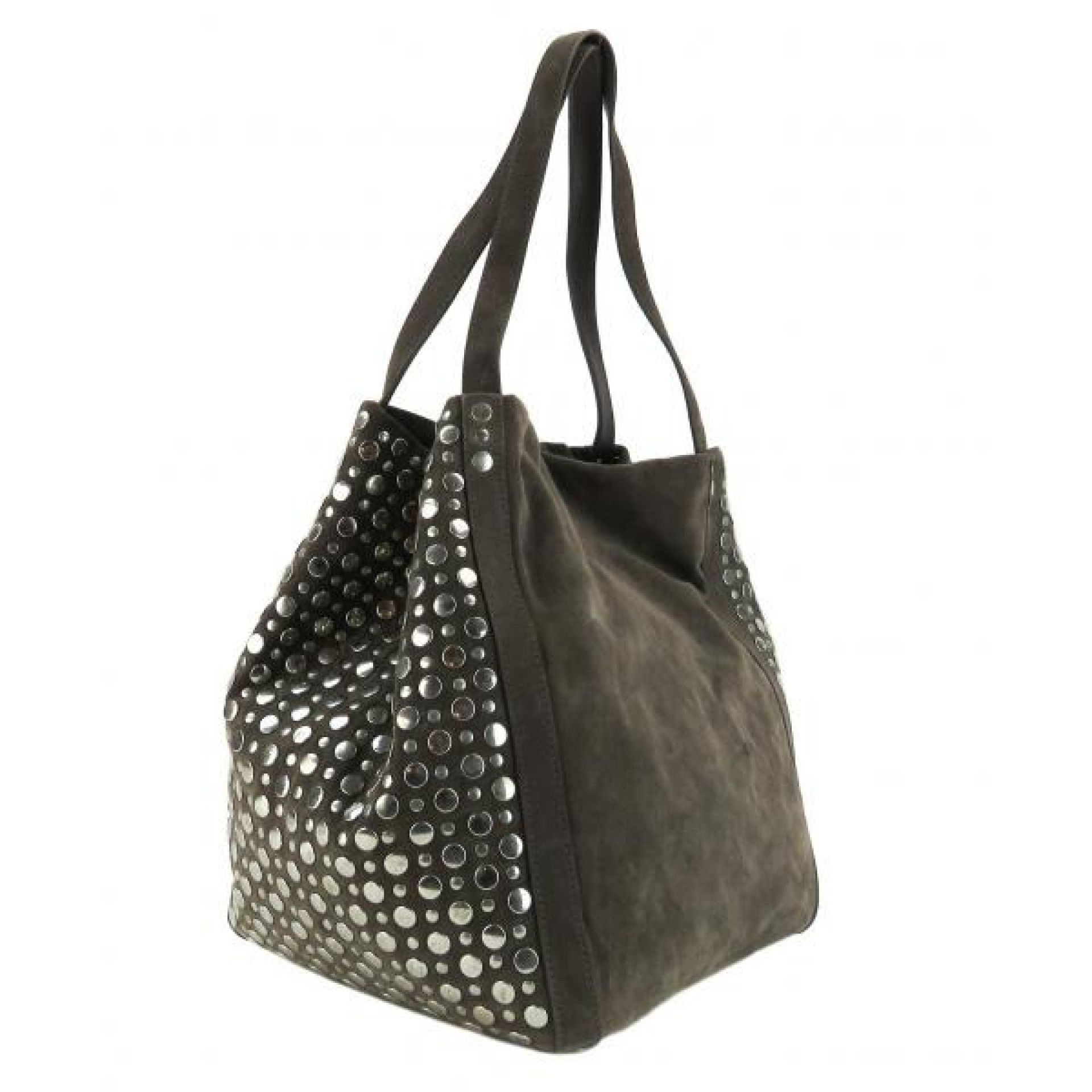 Stuart Weitzman Grey Suede Studded Shopper Tote Bag