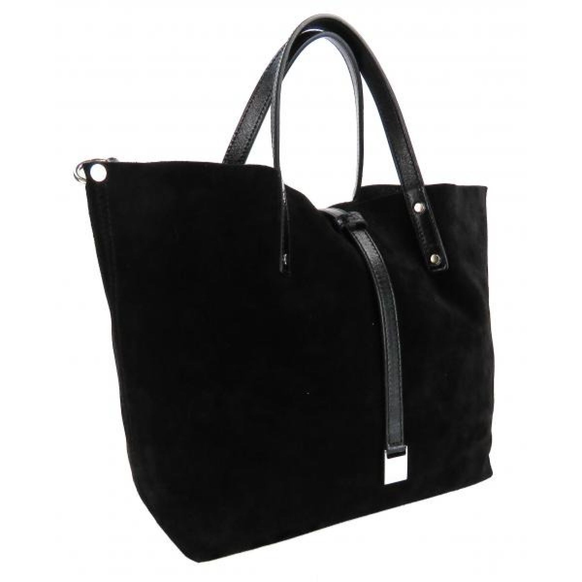 Tiffany & Co Black Suede and Black Leather Small TRT Reversible Tote Bag
