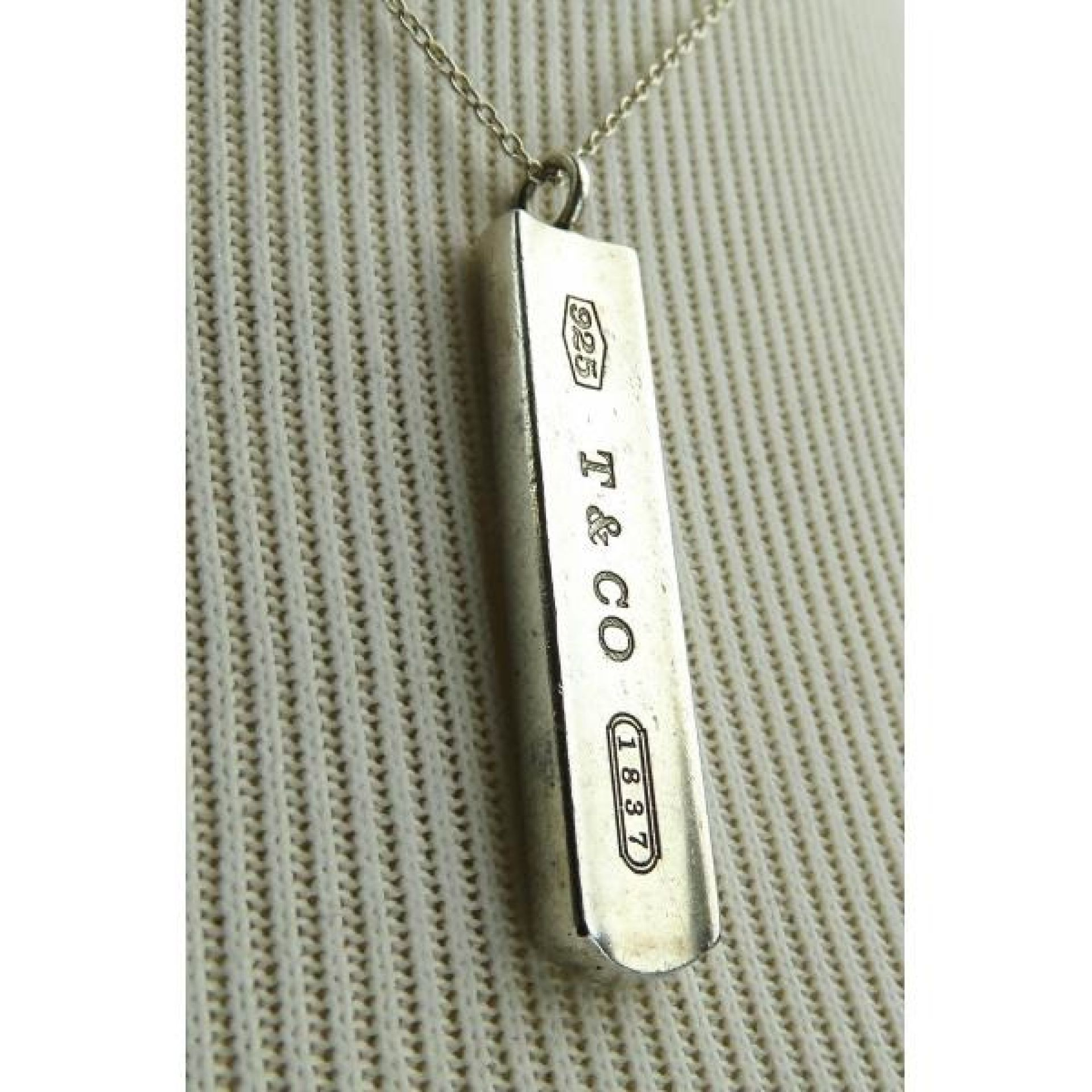 Tiffany & Co Sterling Silver 1837 Bar Pendant Necklace