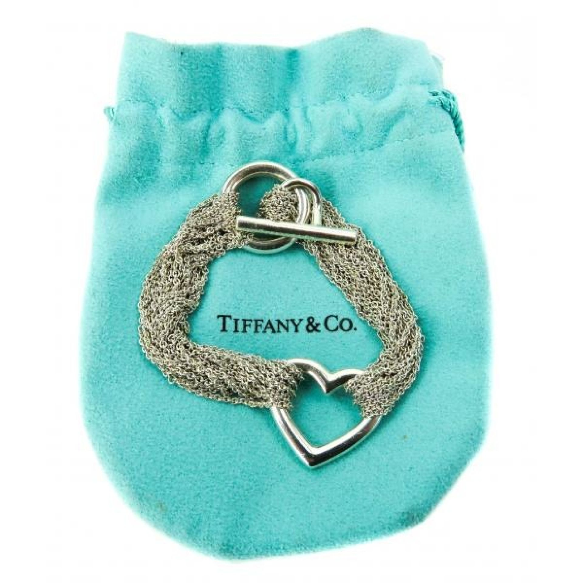 Tiffany & Co Sterling Silver Multi-Strand Mesh Heart Toggle Bracelet