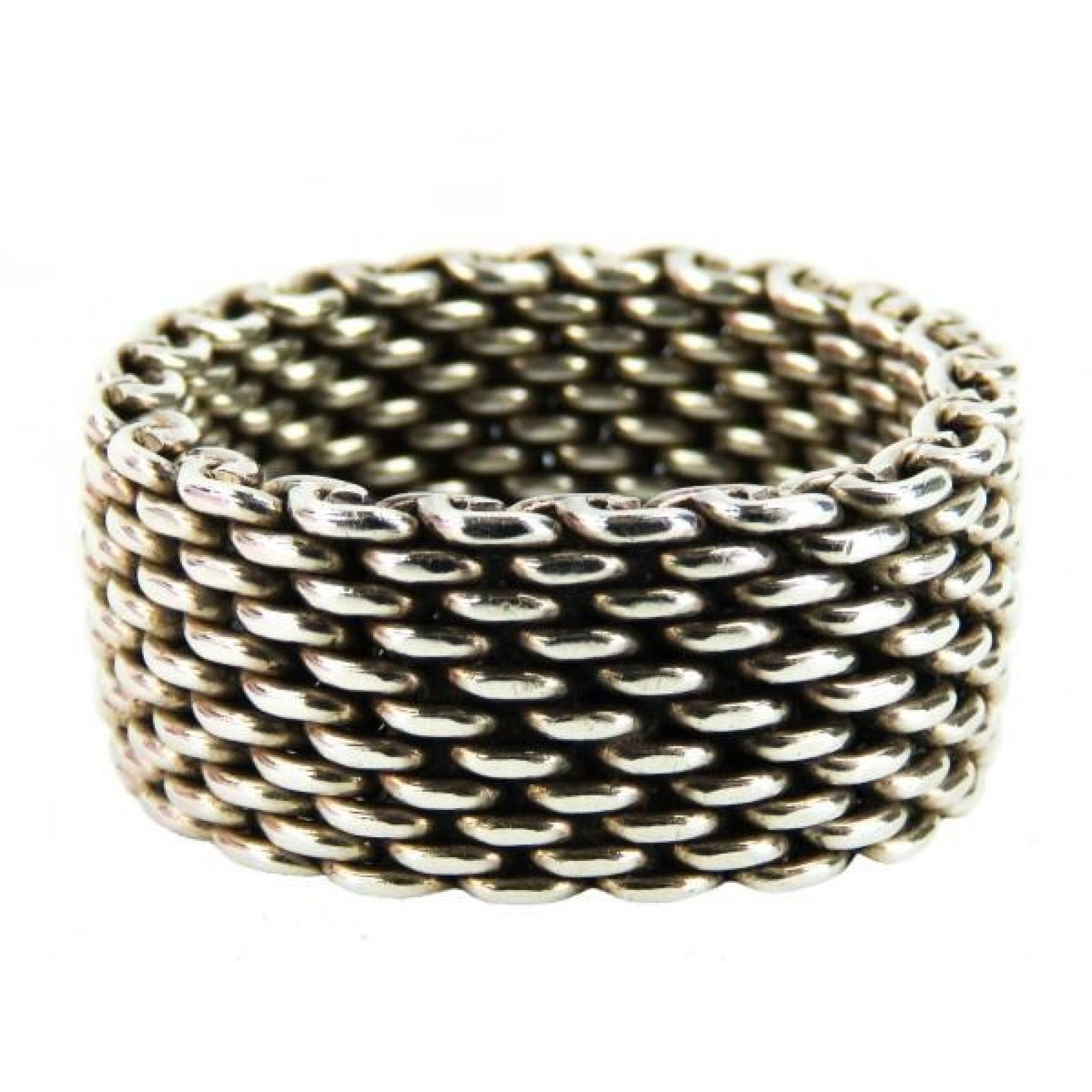 Tiffany & Co Sterling Silver Somerset Wide Mesh Ring