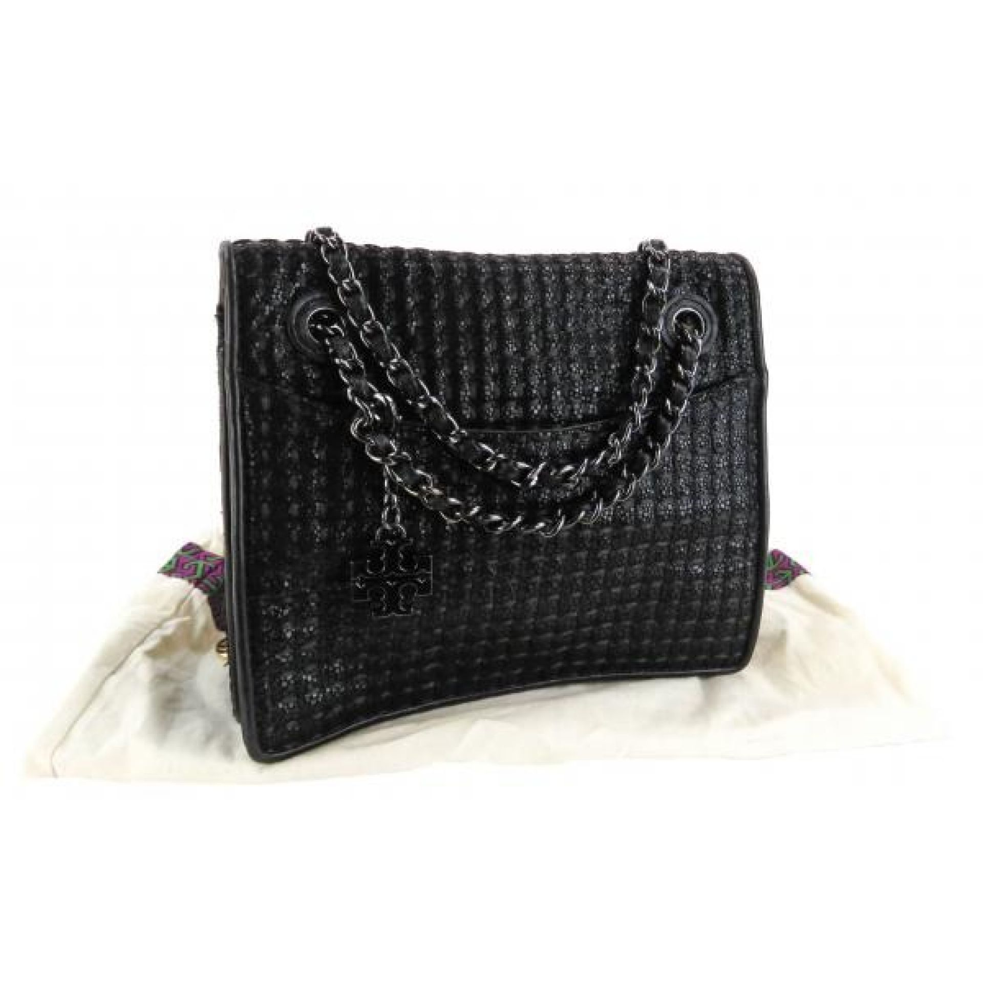 Tory Burch Black Metallic Quilted Leather Fleming Chain Shoulder Bag