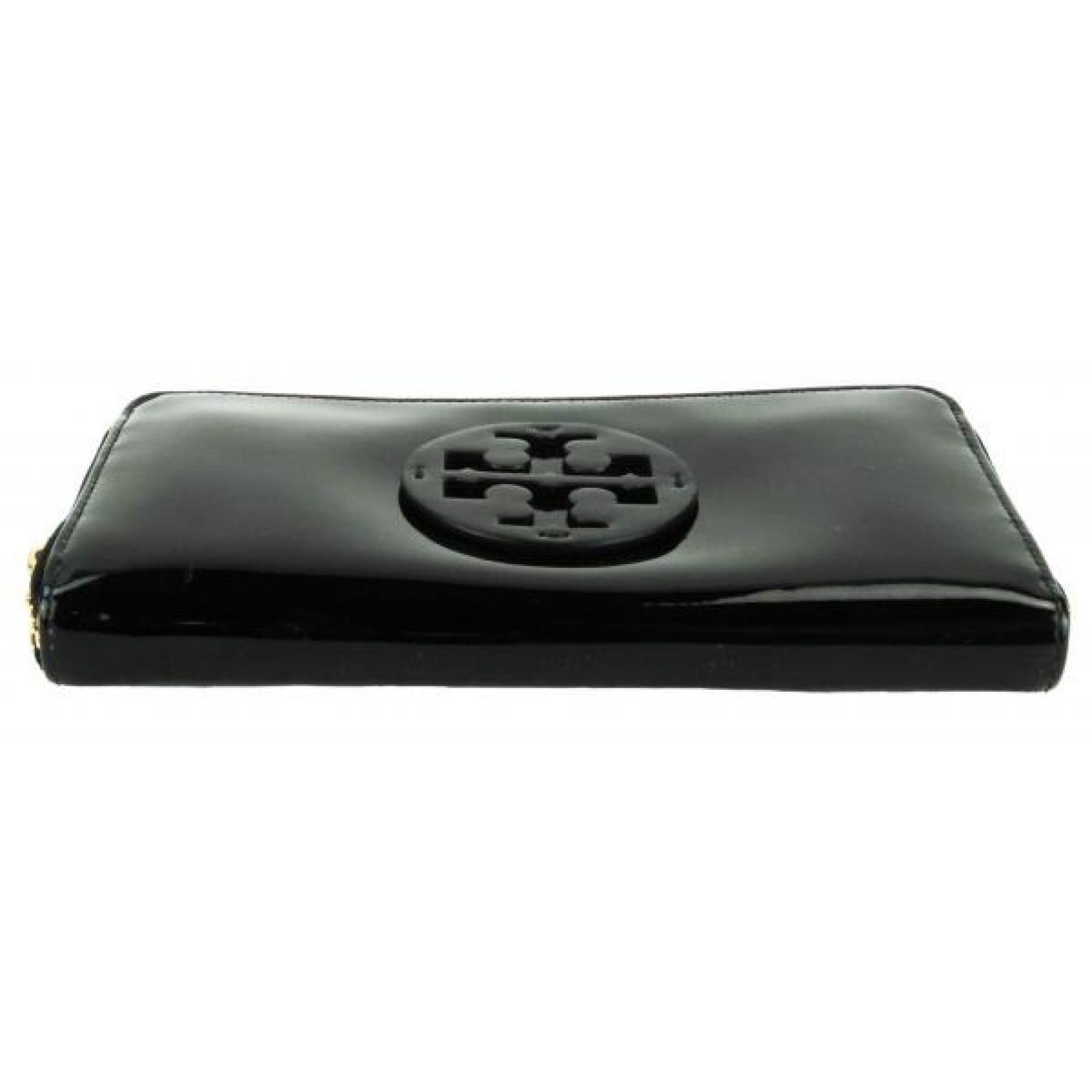 Tory Burch Black Patent Leather Logo Zip Continental Wallet