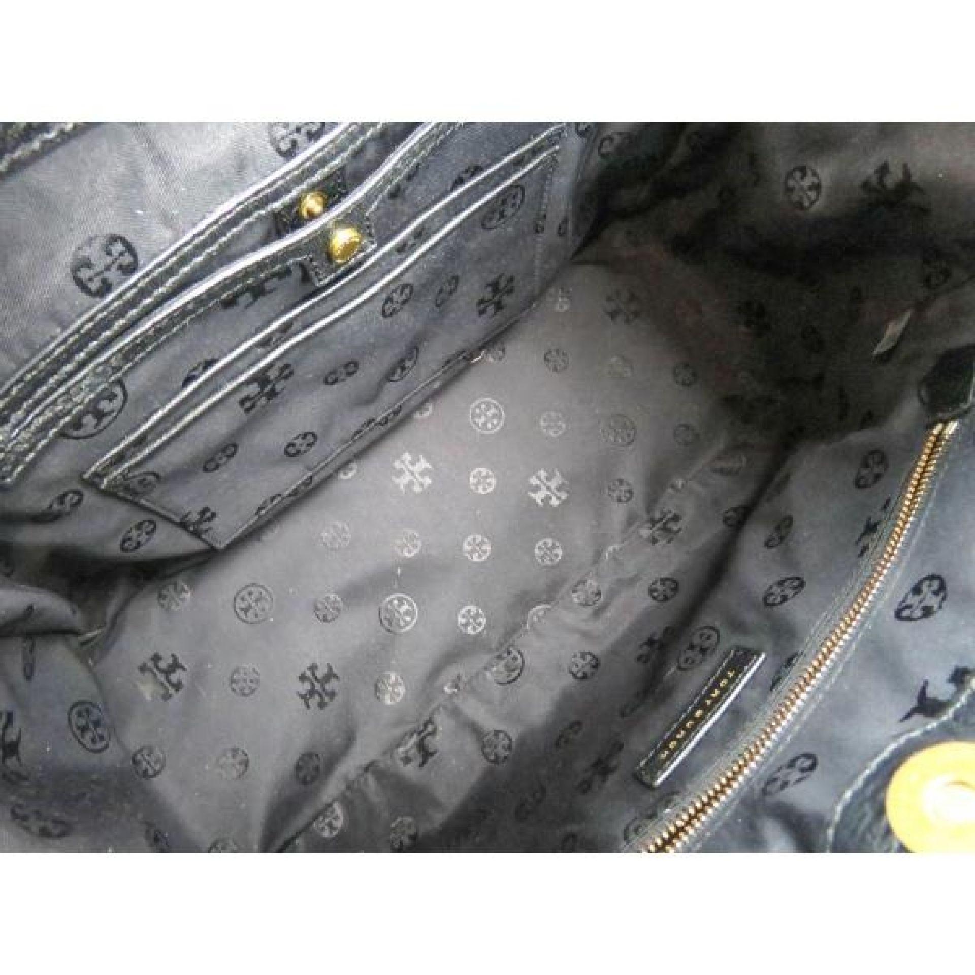 Tory Burch Black Pebbled Leather Frances Satchel Bag