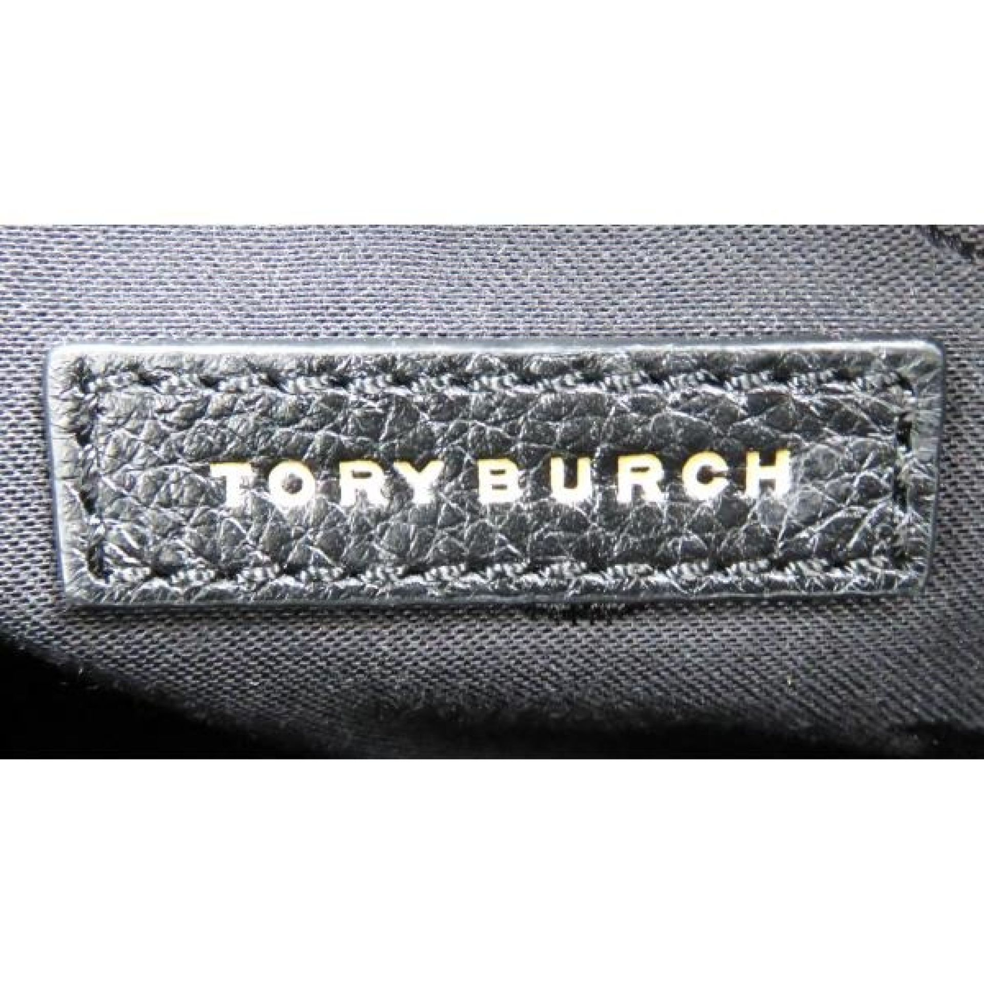 Tory Burch Black Pebbled Leather Frances Satchel Bag