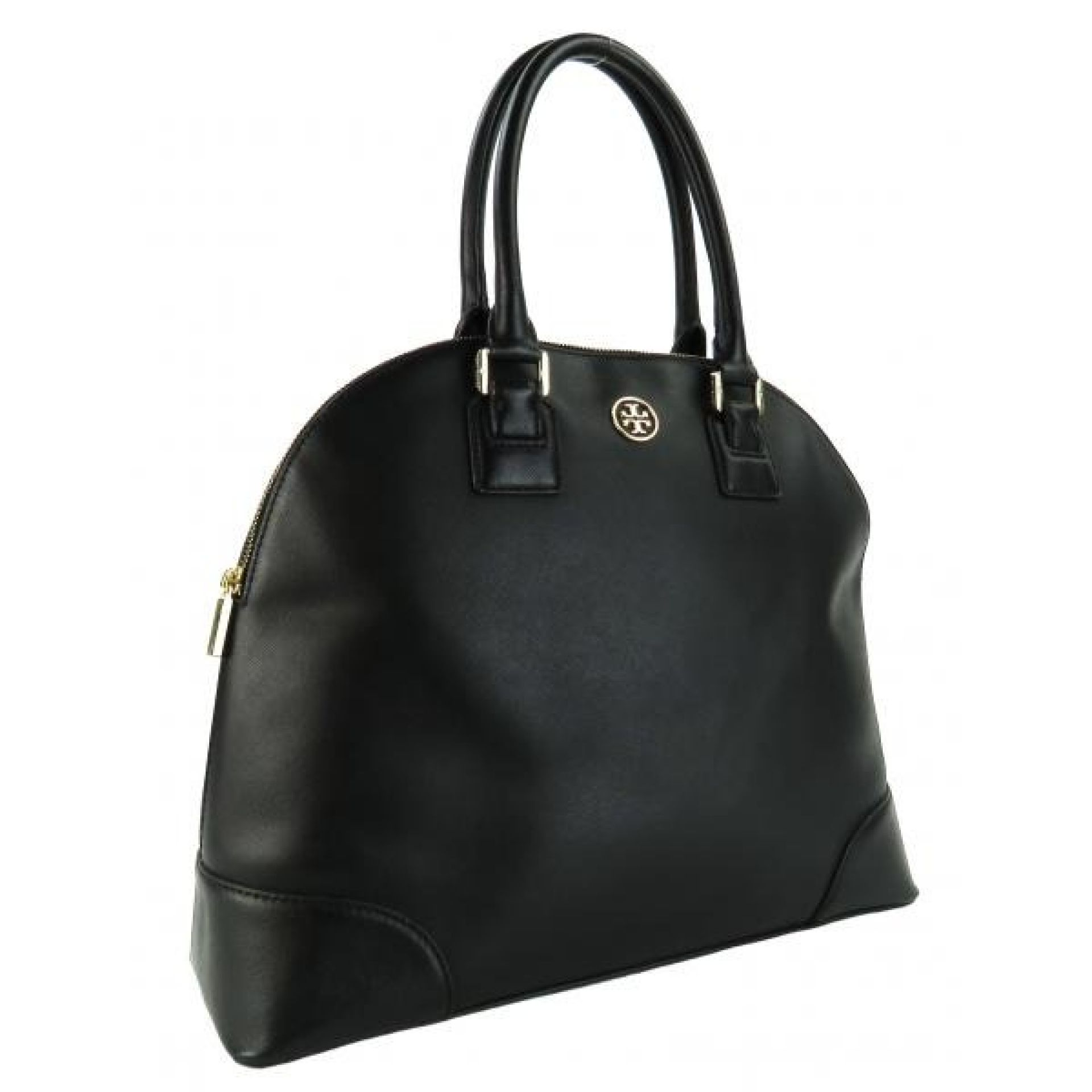 Tory Burch Black Saffiano Leather Robinson Dome Tote Bag
