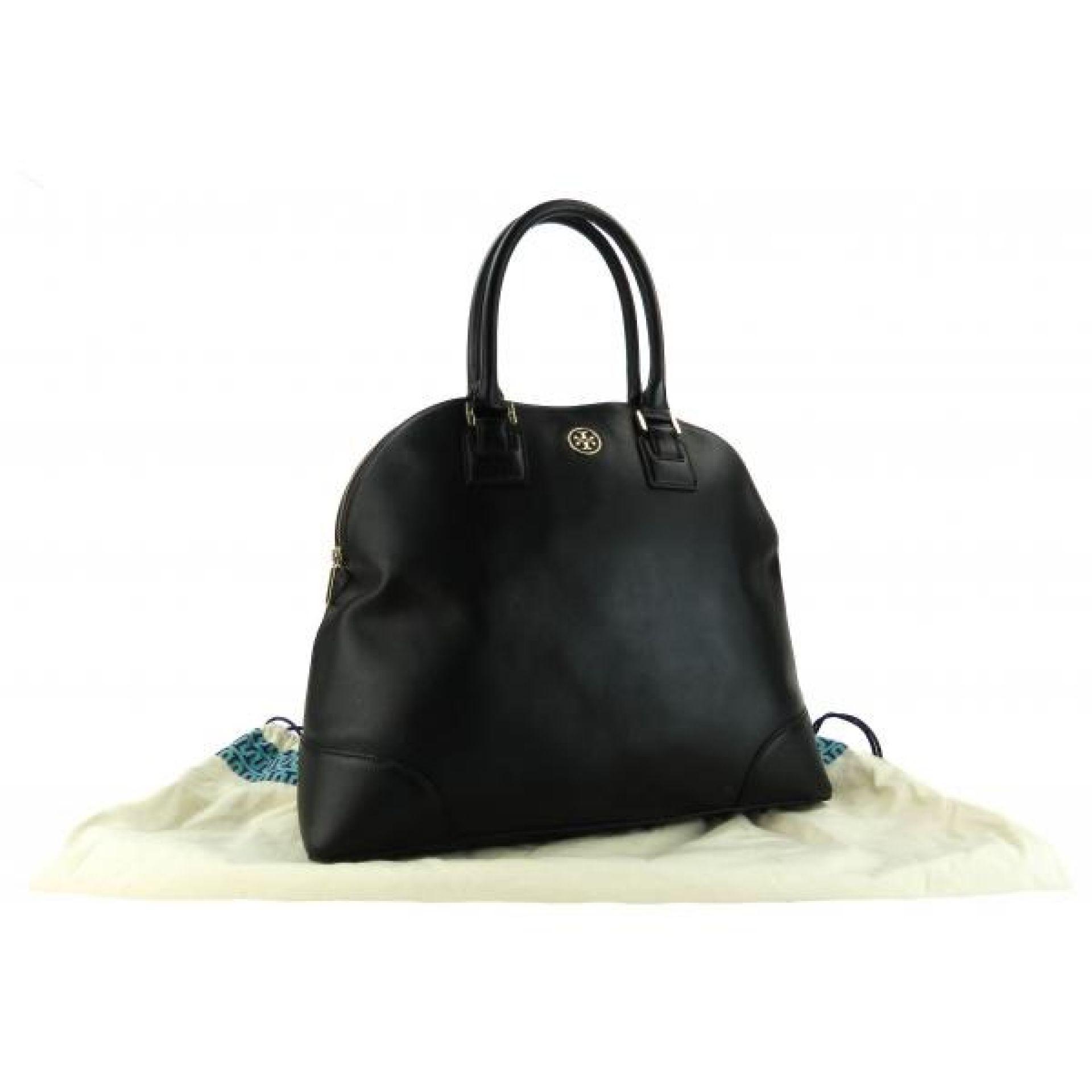 Tory Burch Black Saffiano Leather Robinson Dome Tote Bag