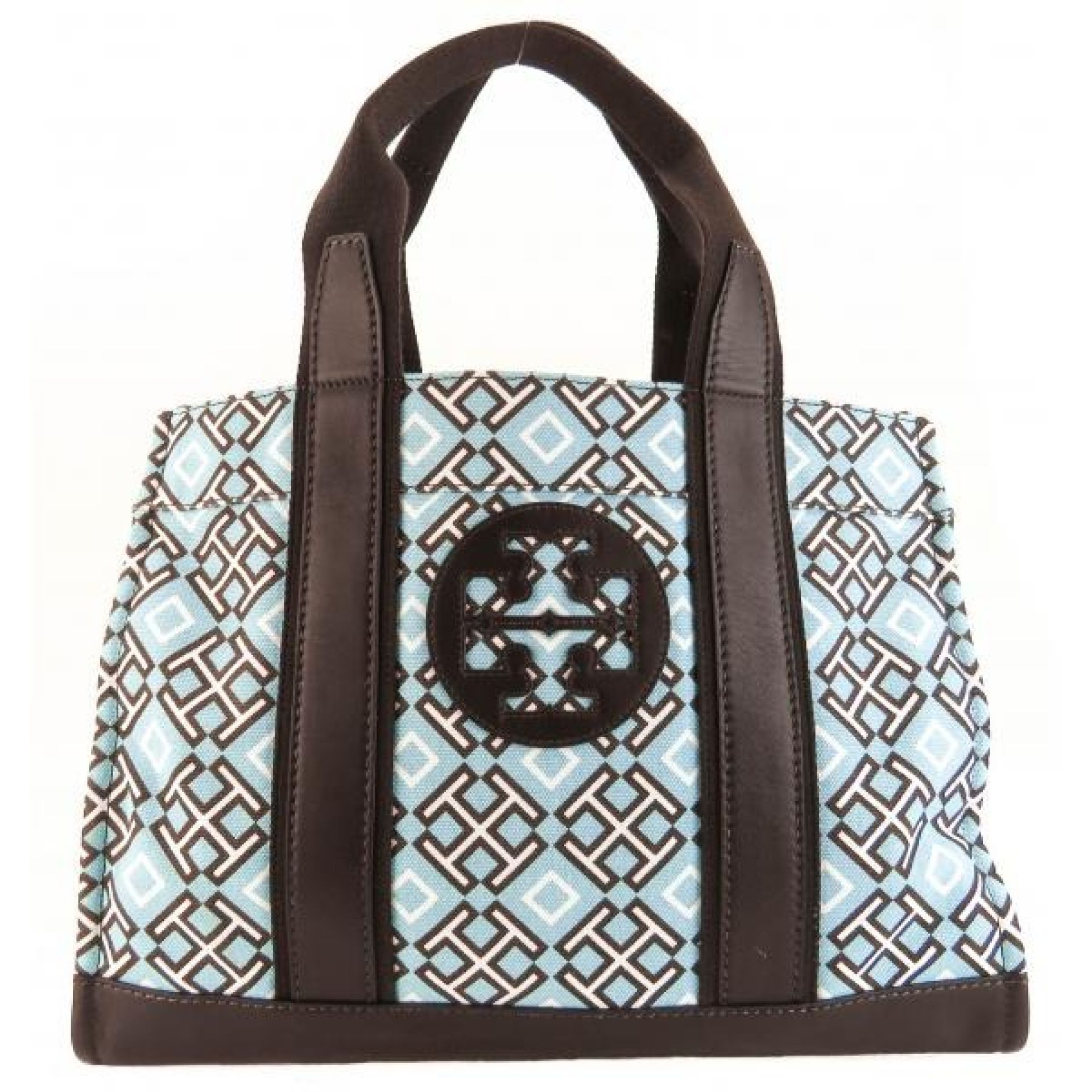 Tory Burch Blue Canvas 4T Printed Classic Logo Tote Bag