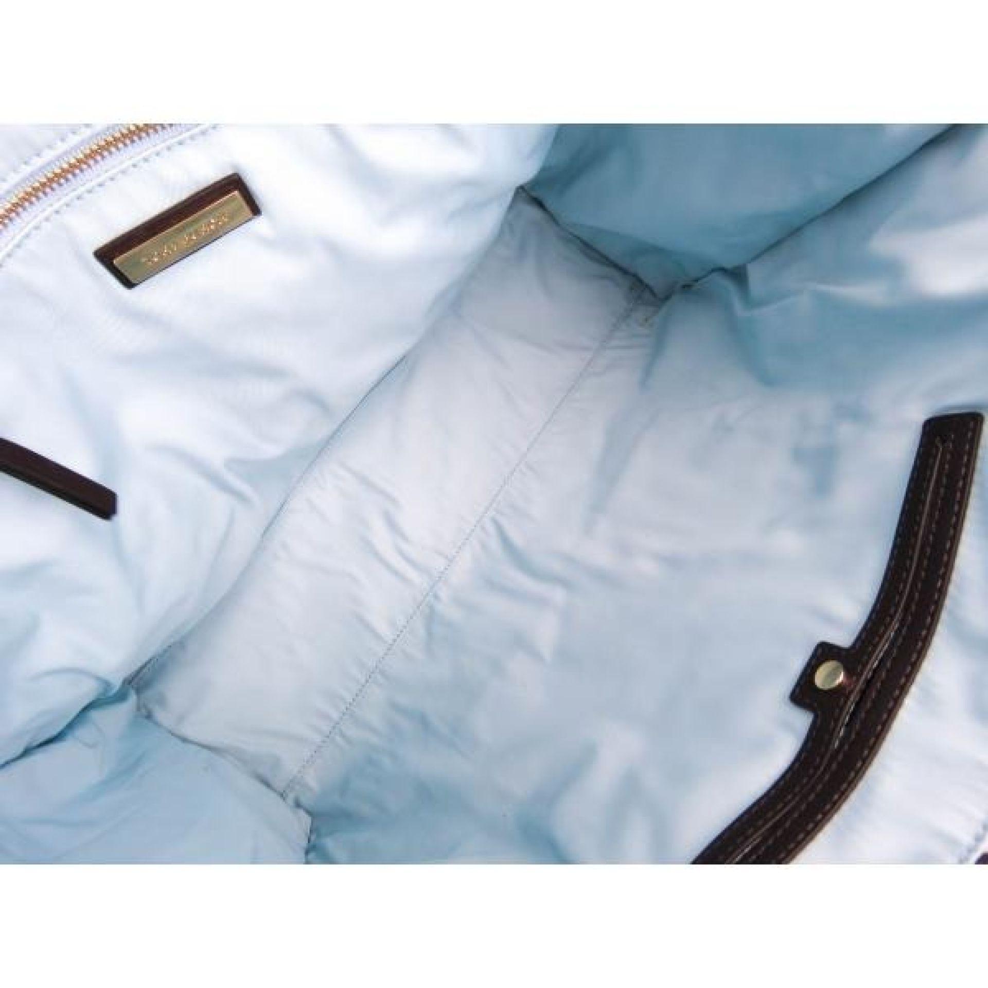 Tory Burch Blue Canvas 4T Printed Classic Logo Tote Bag