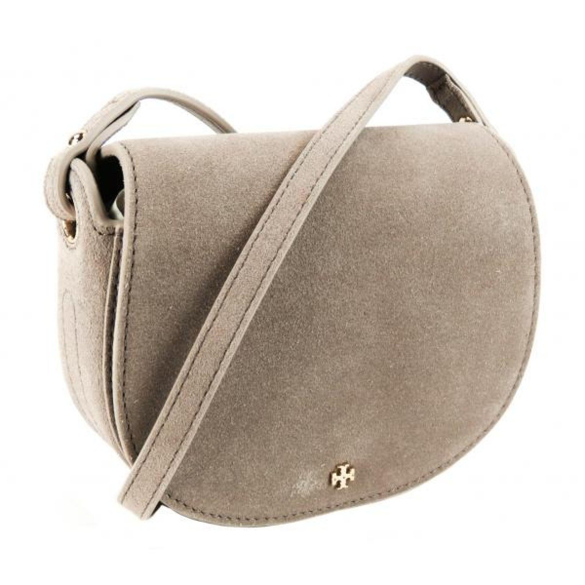 Tory Burch French Gray Suede Mini Saddle Crossbody Bag