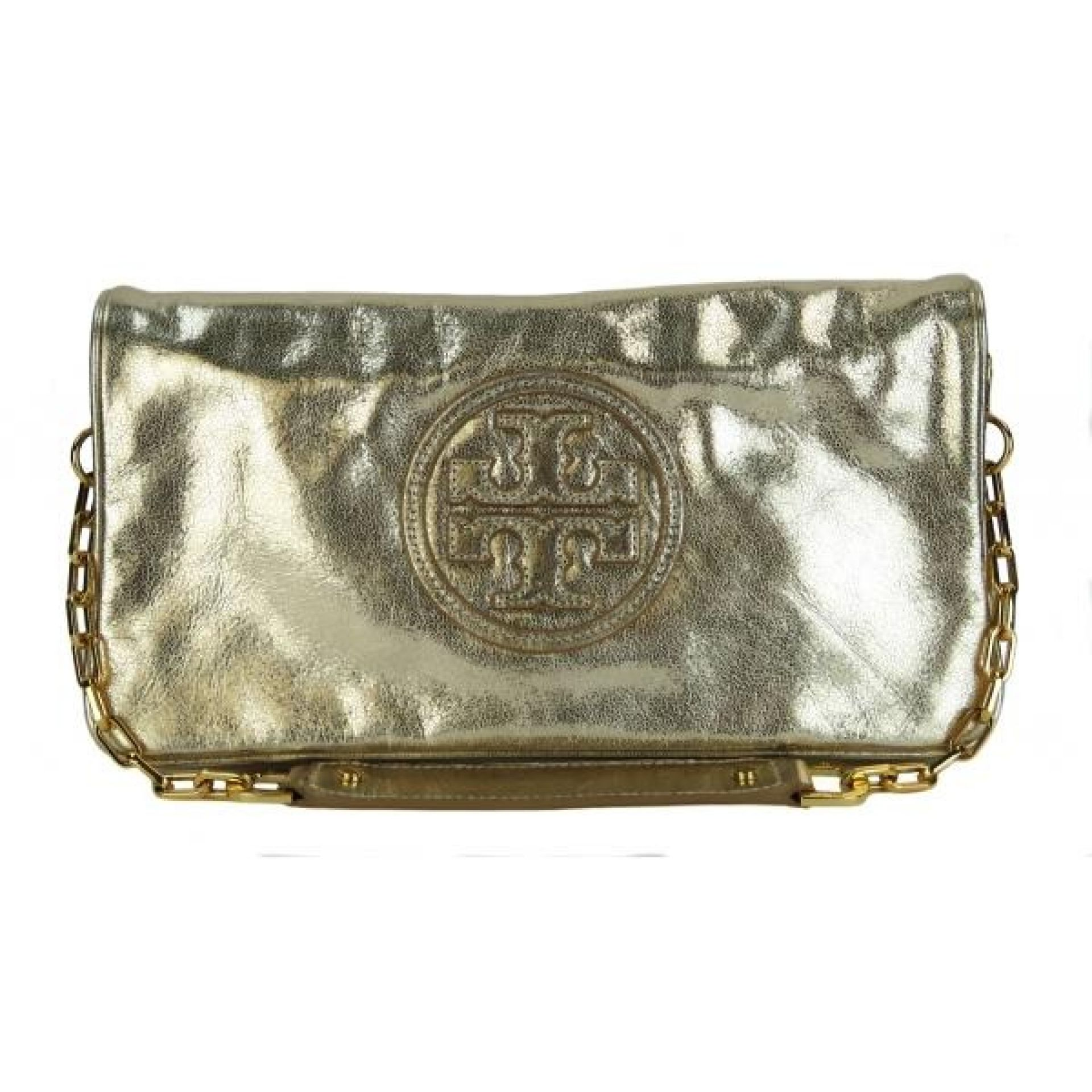 Tory Burch Gold Metallic Leather Chain Strap Bombe Reva Clutch