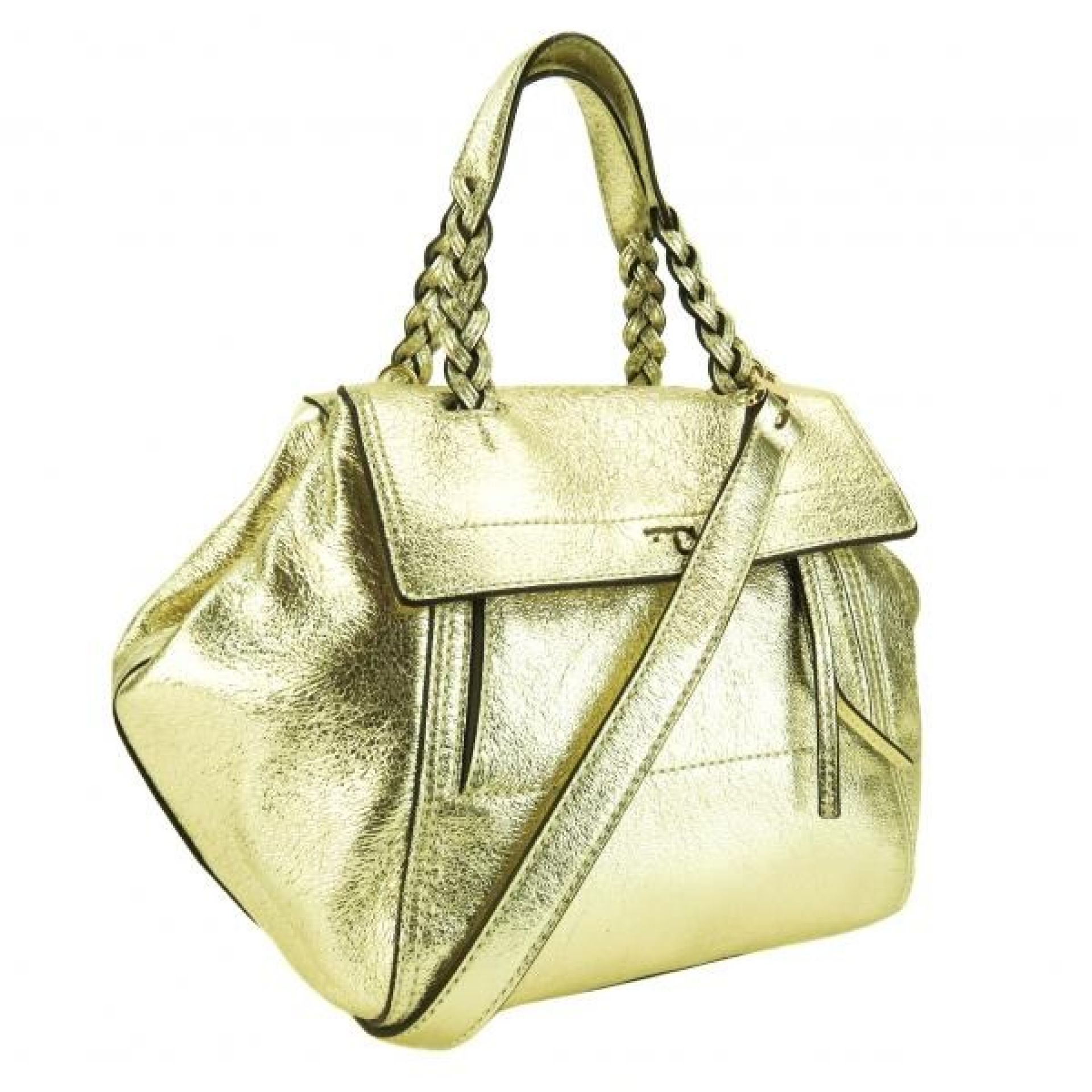 Tory Burch Gold Metallic Leather Half Moon Satchel Bag