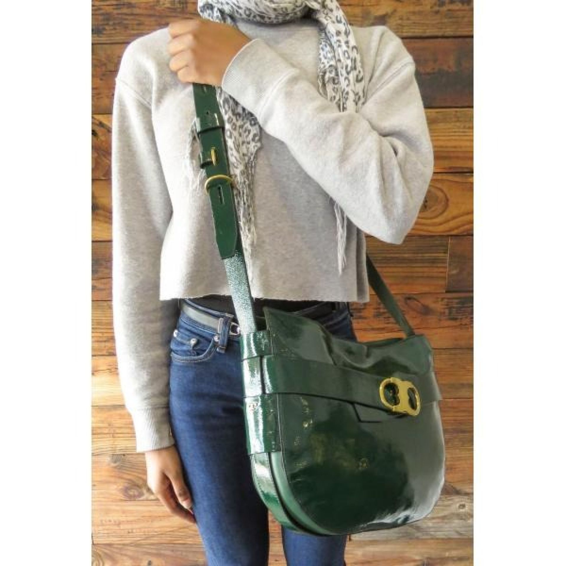 Tory Burch Green Patent Leather Gemini Link Crossbody Bag