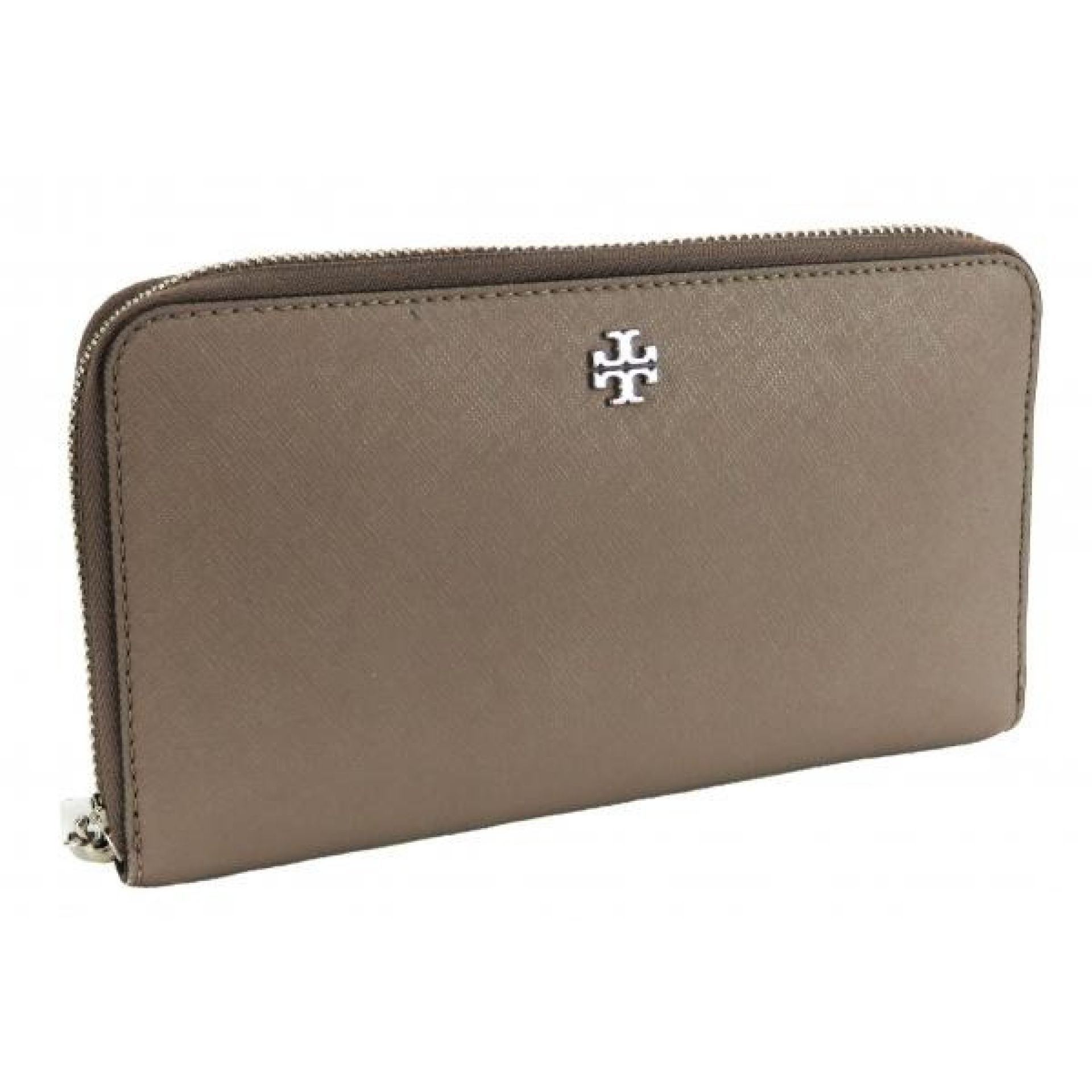 Tory Burch Grey Saffiano Leather Robinson Zip Continental Wallet