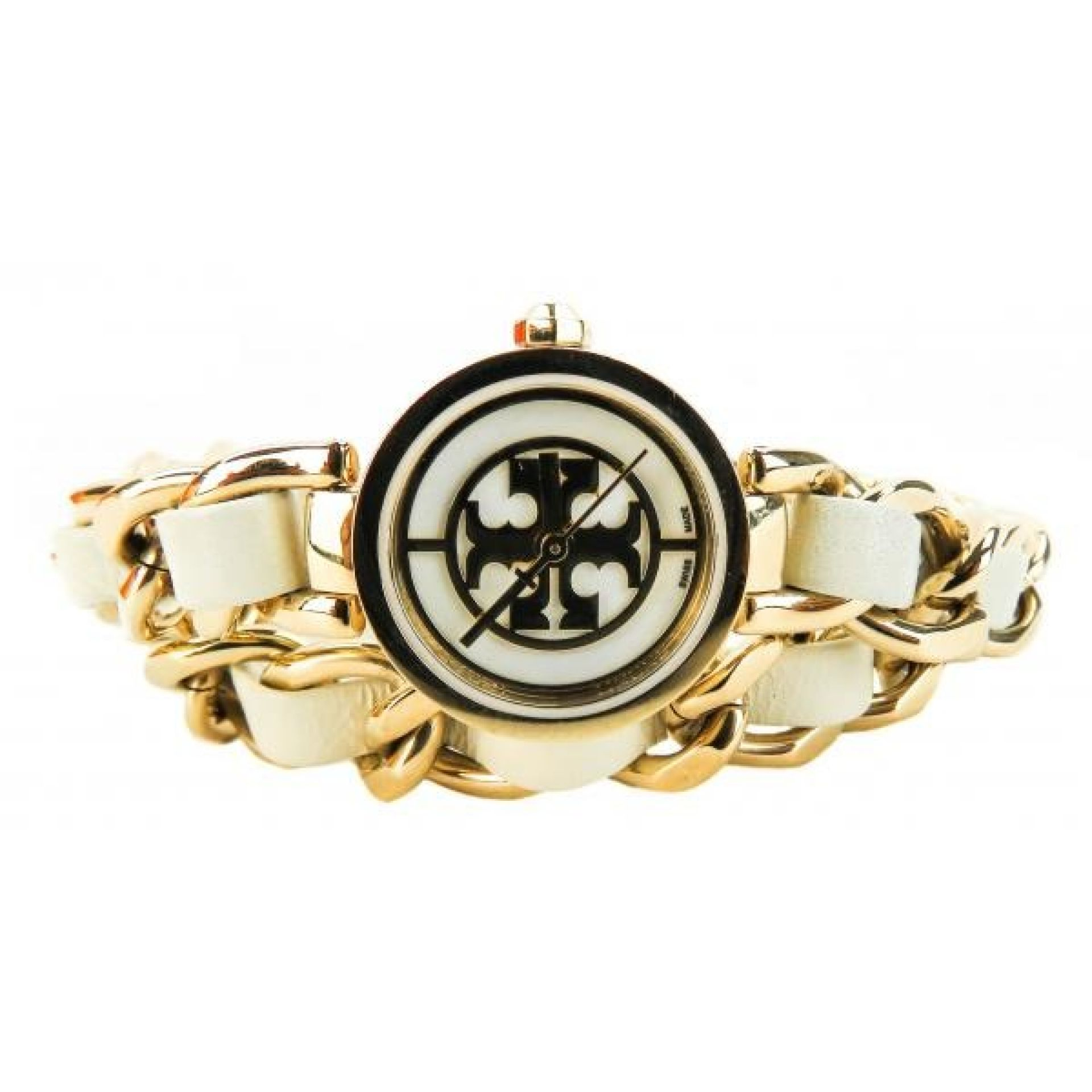 Tory Burch Ivory Leather Gold-tone Reva Wrap Watch
