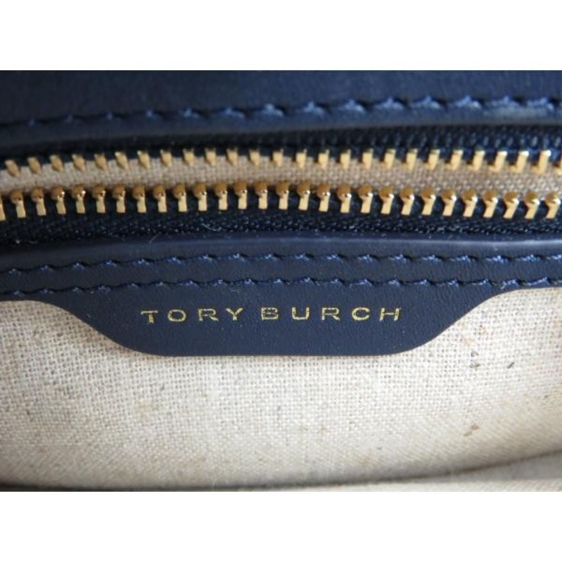 Tory Burch Navy Blue Leather Polka Dot Gemini Link Medium Shoulder Bag