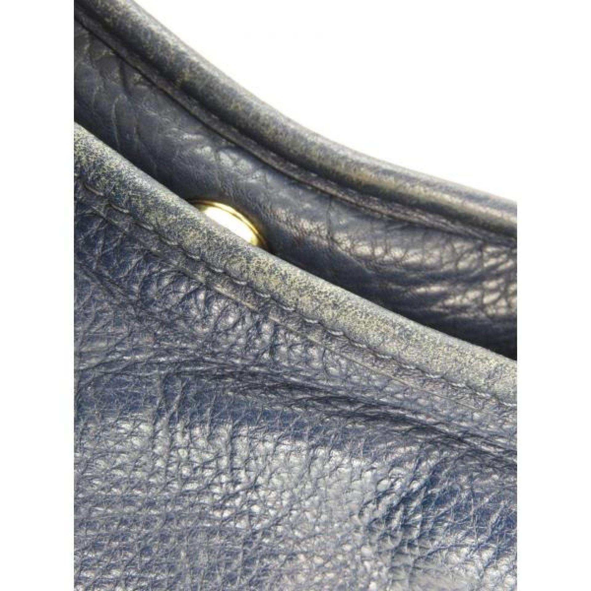 Tory Burch Navy Blue Pebbled Leather Amanda Hobo Bag