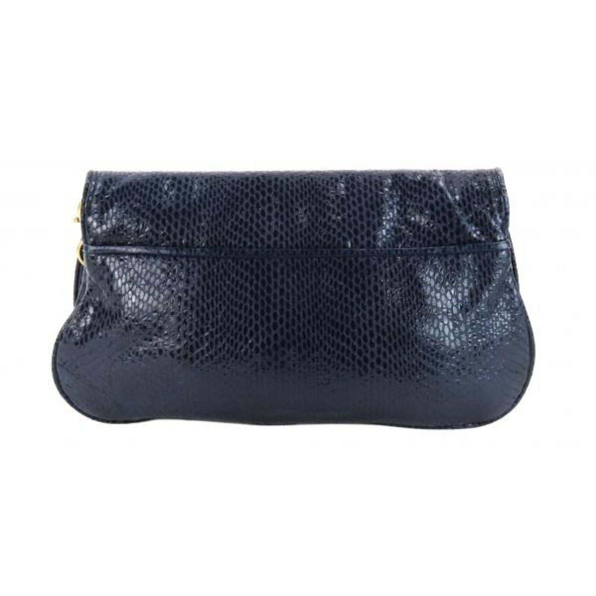 Tory Burch Navy Blue Snake Embossed Leather Amanda Clutch Crossbody Bag