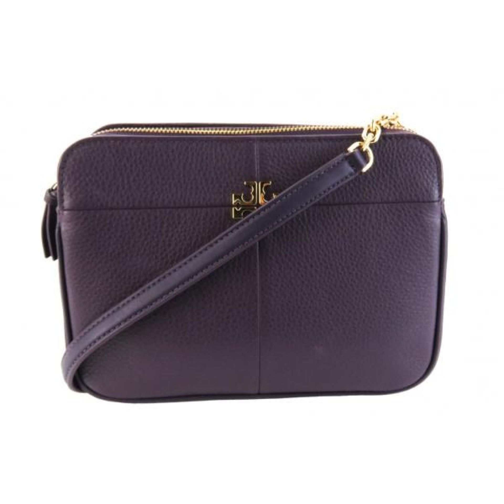 Tory Burch Purple Pebbled Leather Ivy Crossbody Bag