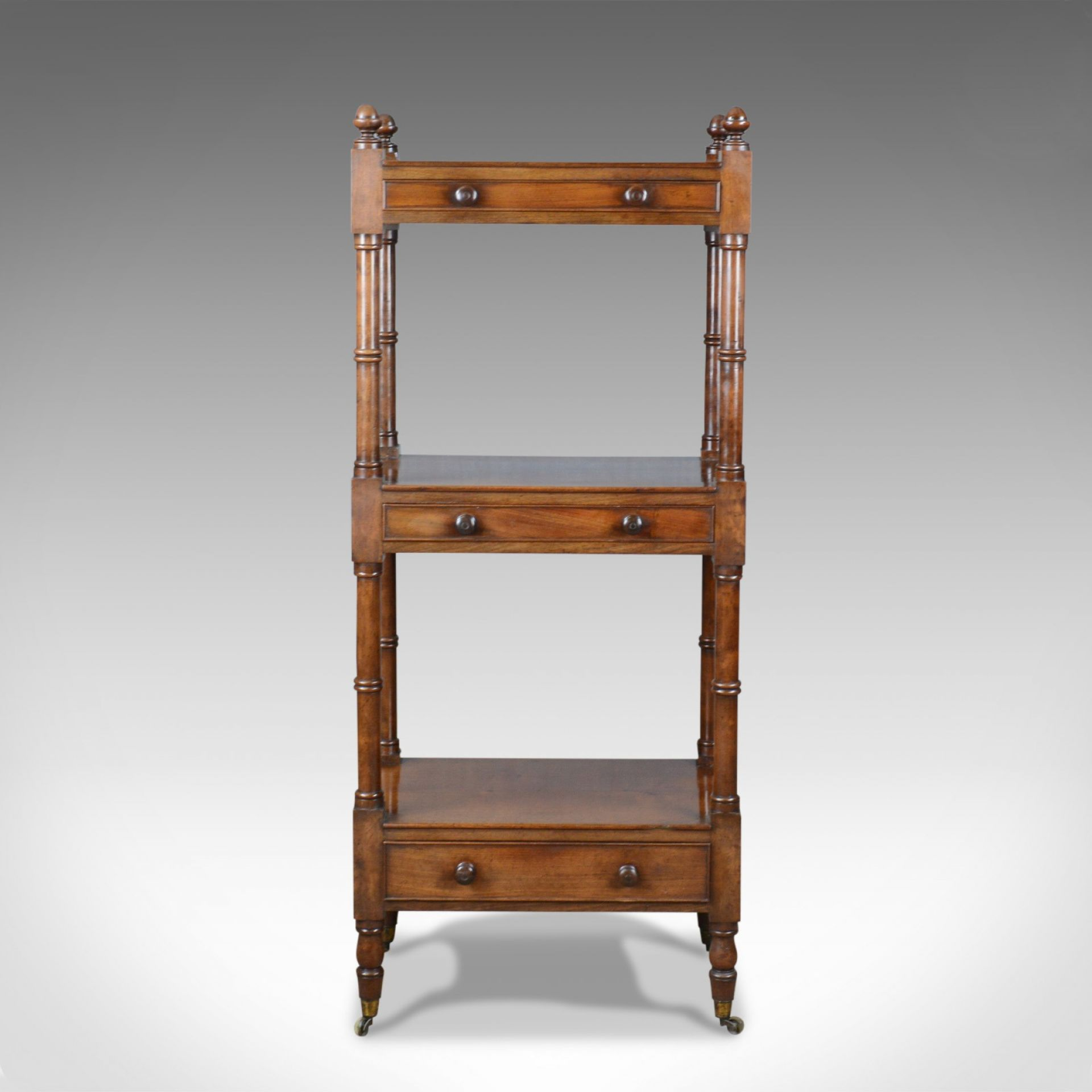Antique Whatnot, English, Mahogany, Three Tier, Victorian, Display Stand, c.1860